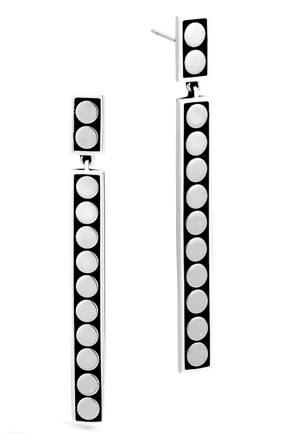 Dot Linear Drop Earrings,                             Main thumbnail 1, color,                             SILVER