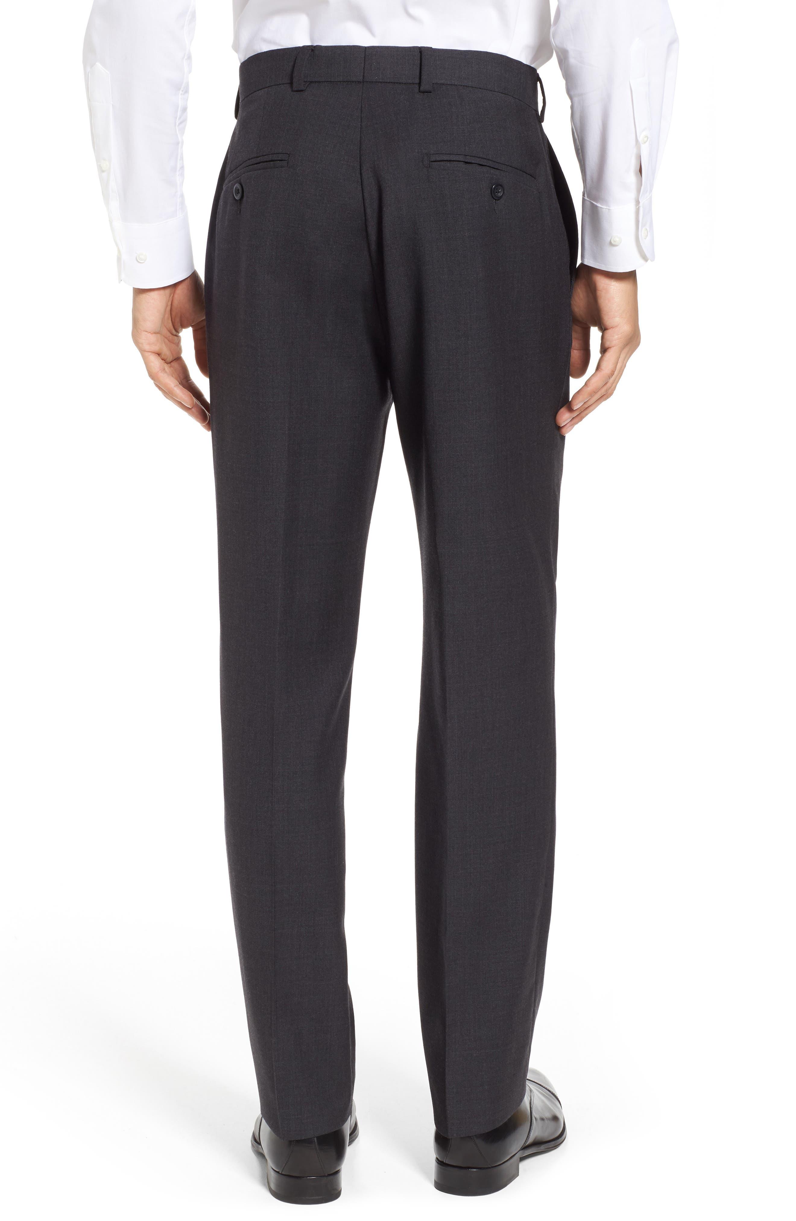 Gab Trim Fit Flat Front Pants,                             Alternate thumbnail 3, color,                             002