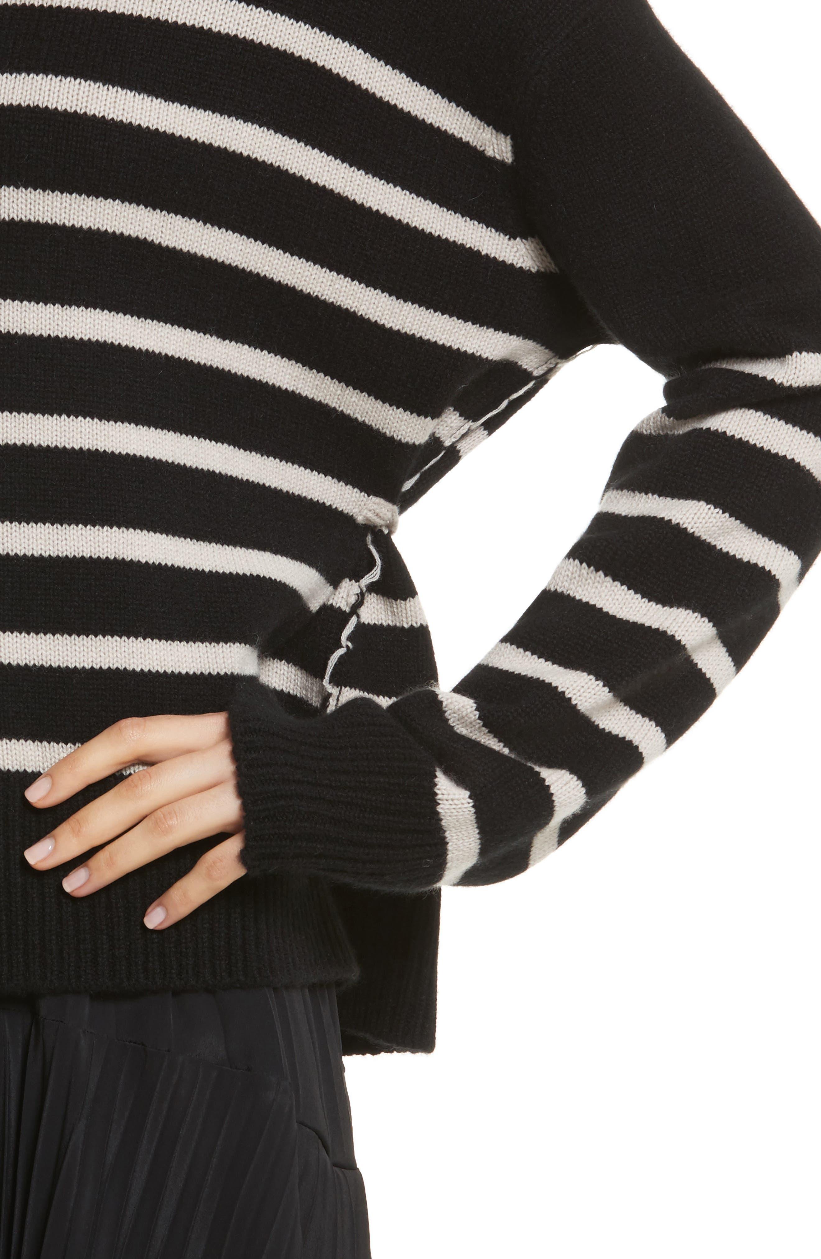 Cashmere Stripe Boxy Crew Sweater,                             Alternate thumbnail 4, color,                             006