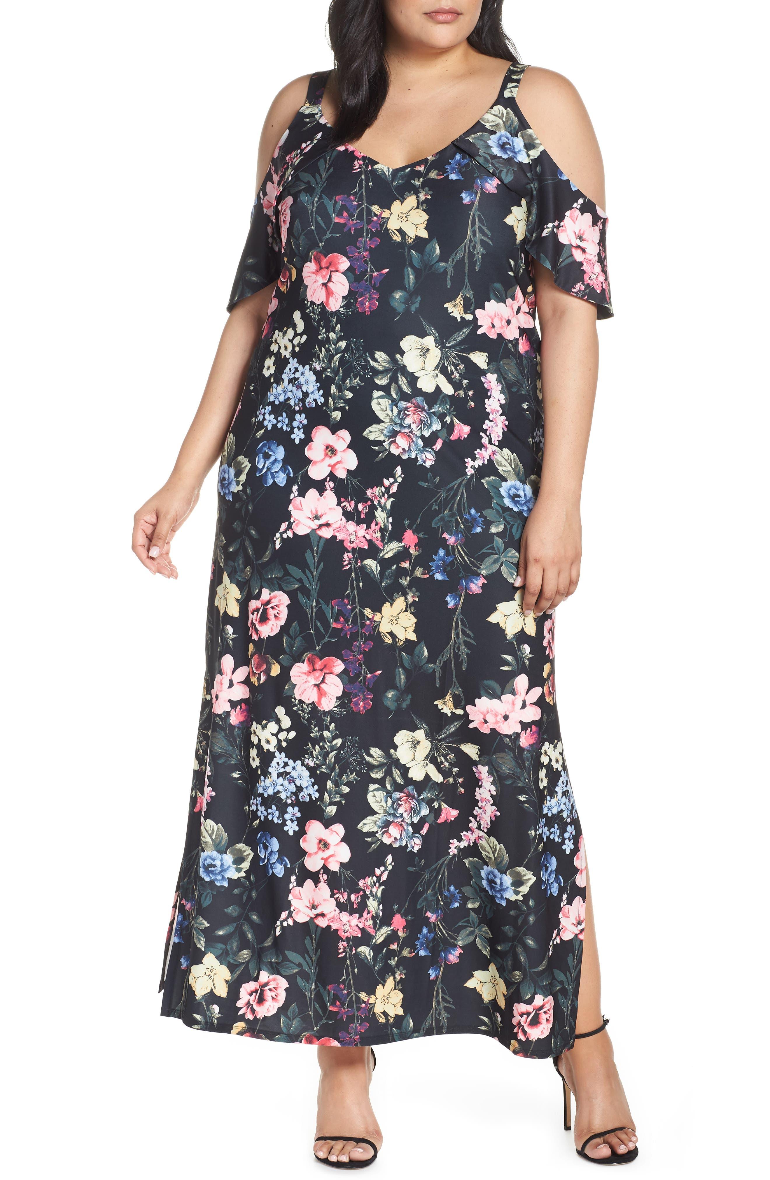 Plus Size Rachel Rachel Roy Cold Shoulder Floral Maxi Dress, Black