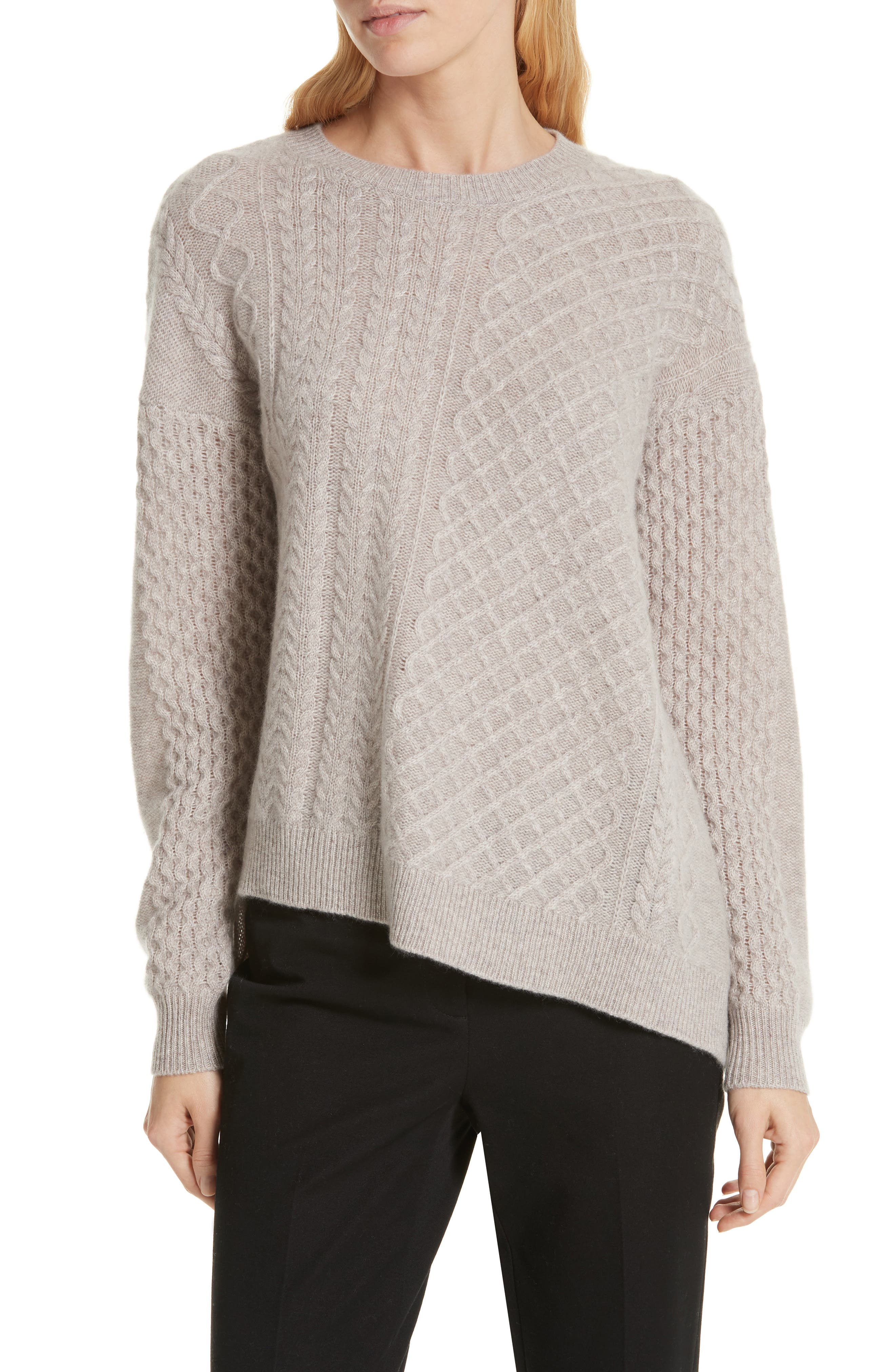 Cable Mix Asymmetrical Cashmere Sweater,                             Main thumbnail 1, color,                             BEIGE STRING HEATHER