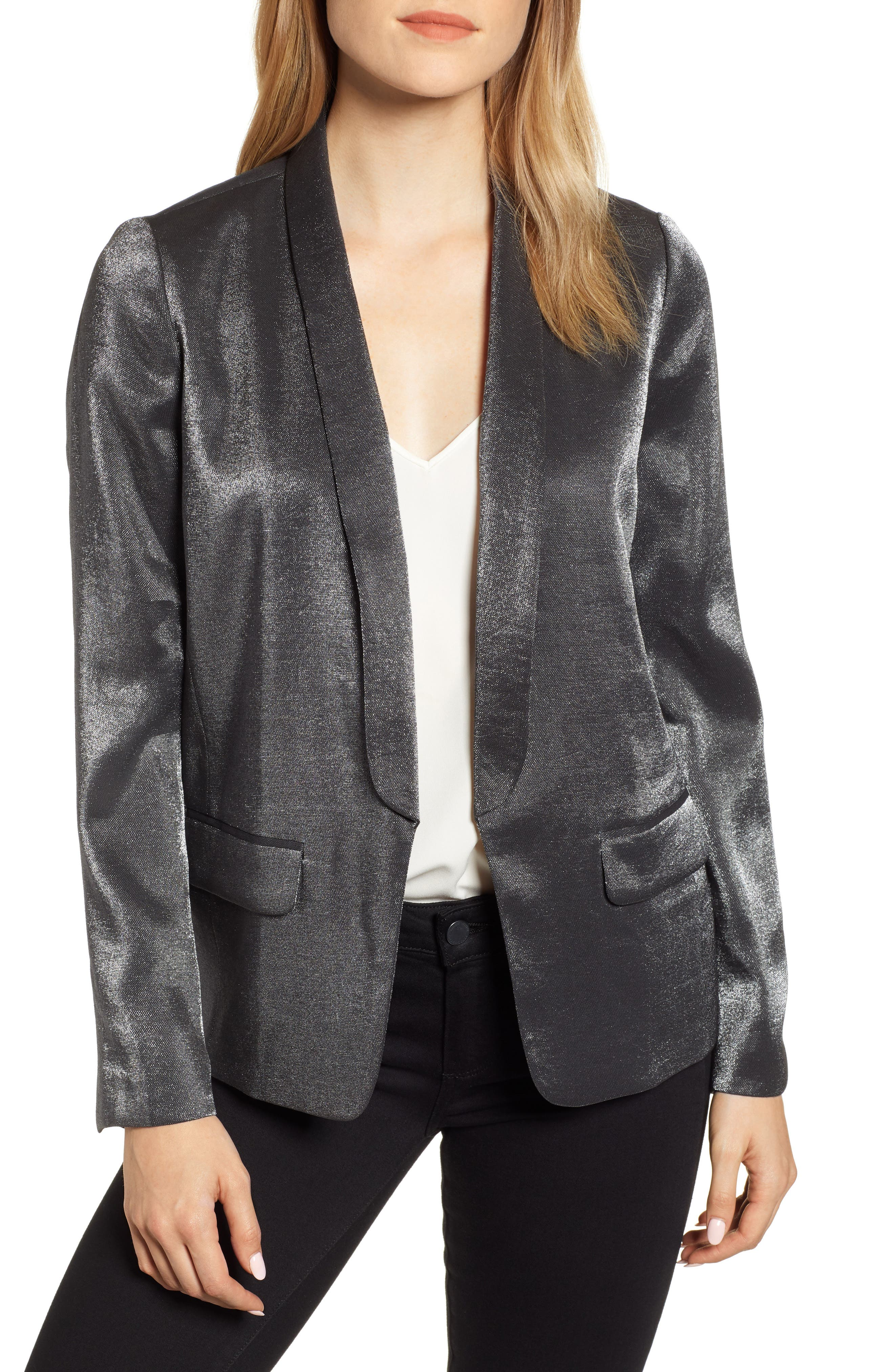 Shimmery Blazer,                         Main,                         color, BLACK METALLIC