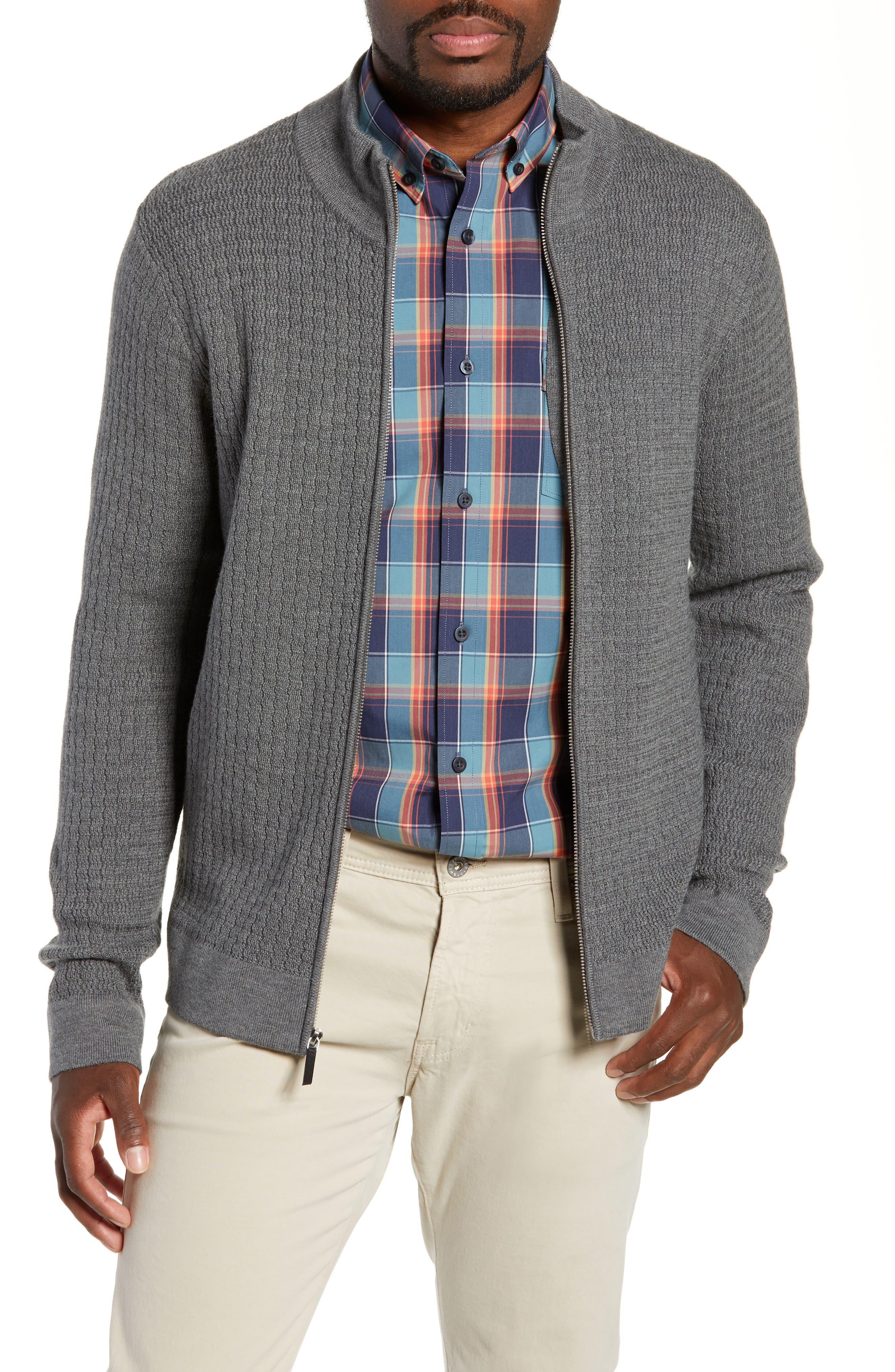 Nordstrom Signature Merino Wool Zip Cardigan, Grey