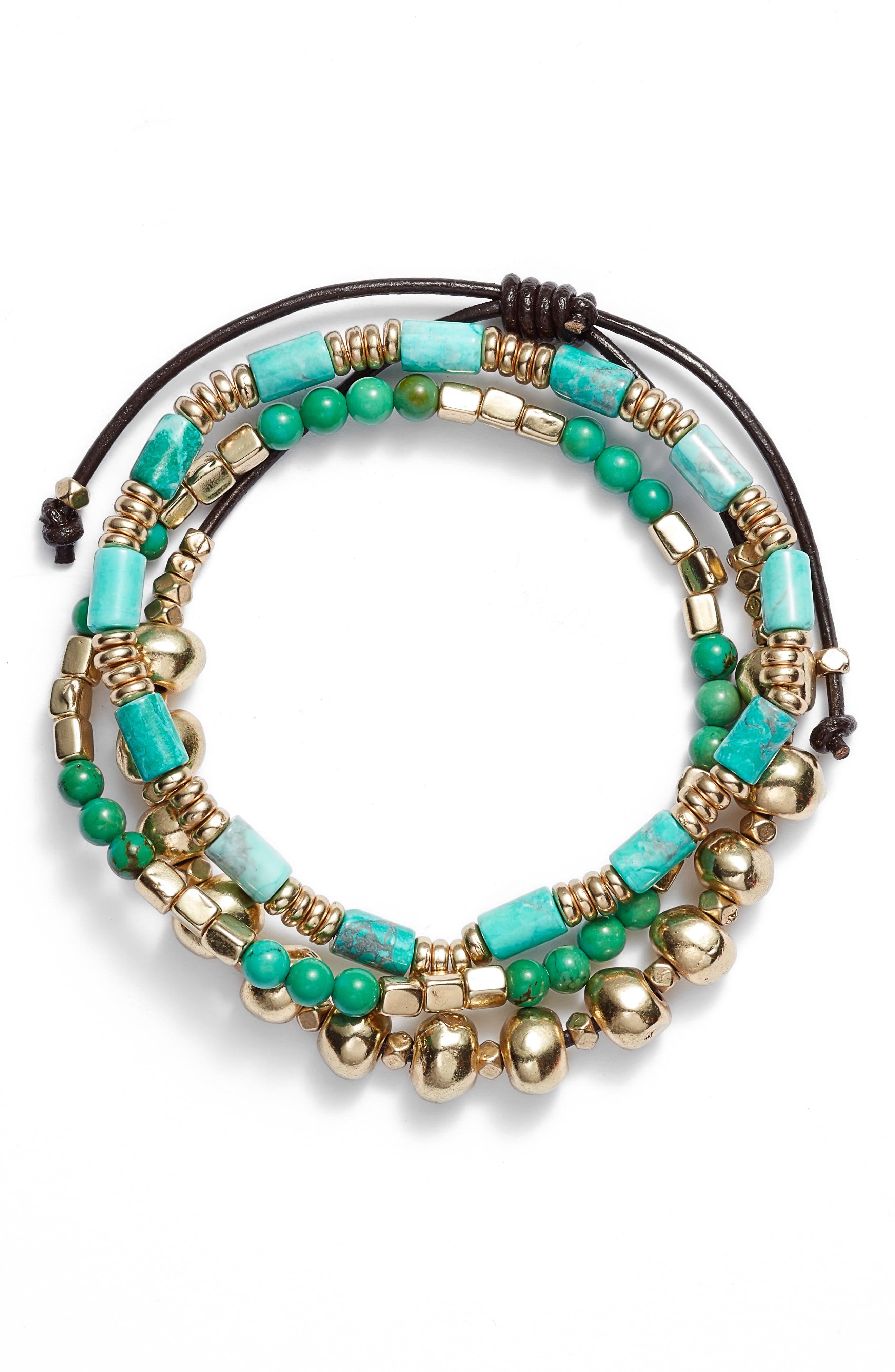 Semiprecious Stone Beaded Bracelet,                         Main,                         color, TURQ- GOLD