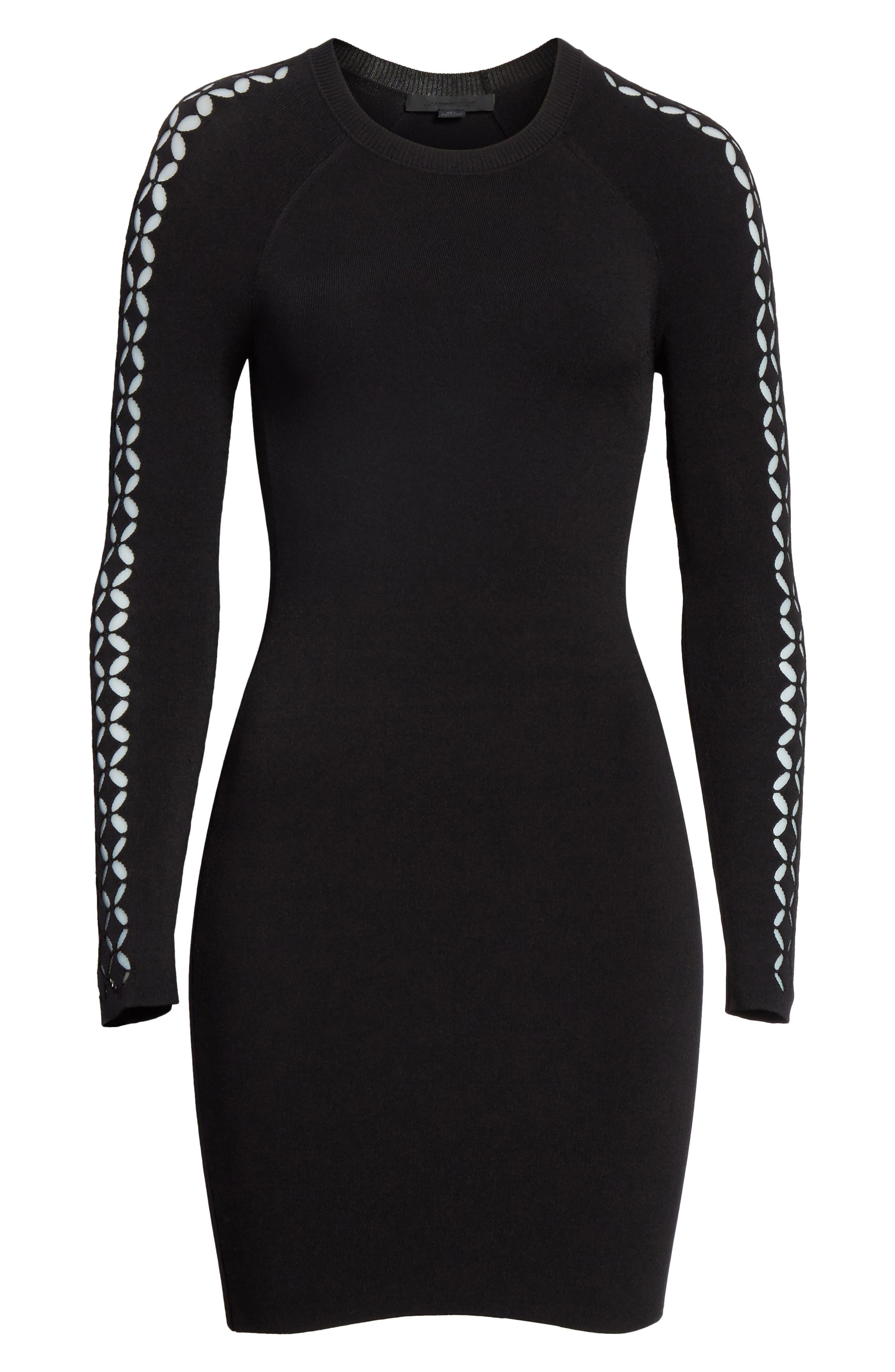 Open Knit Sleeve Dress,                             Alternate thumbnail 6, color,                             001
