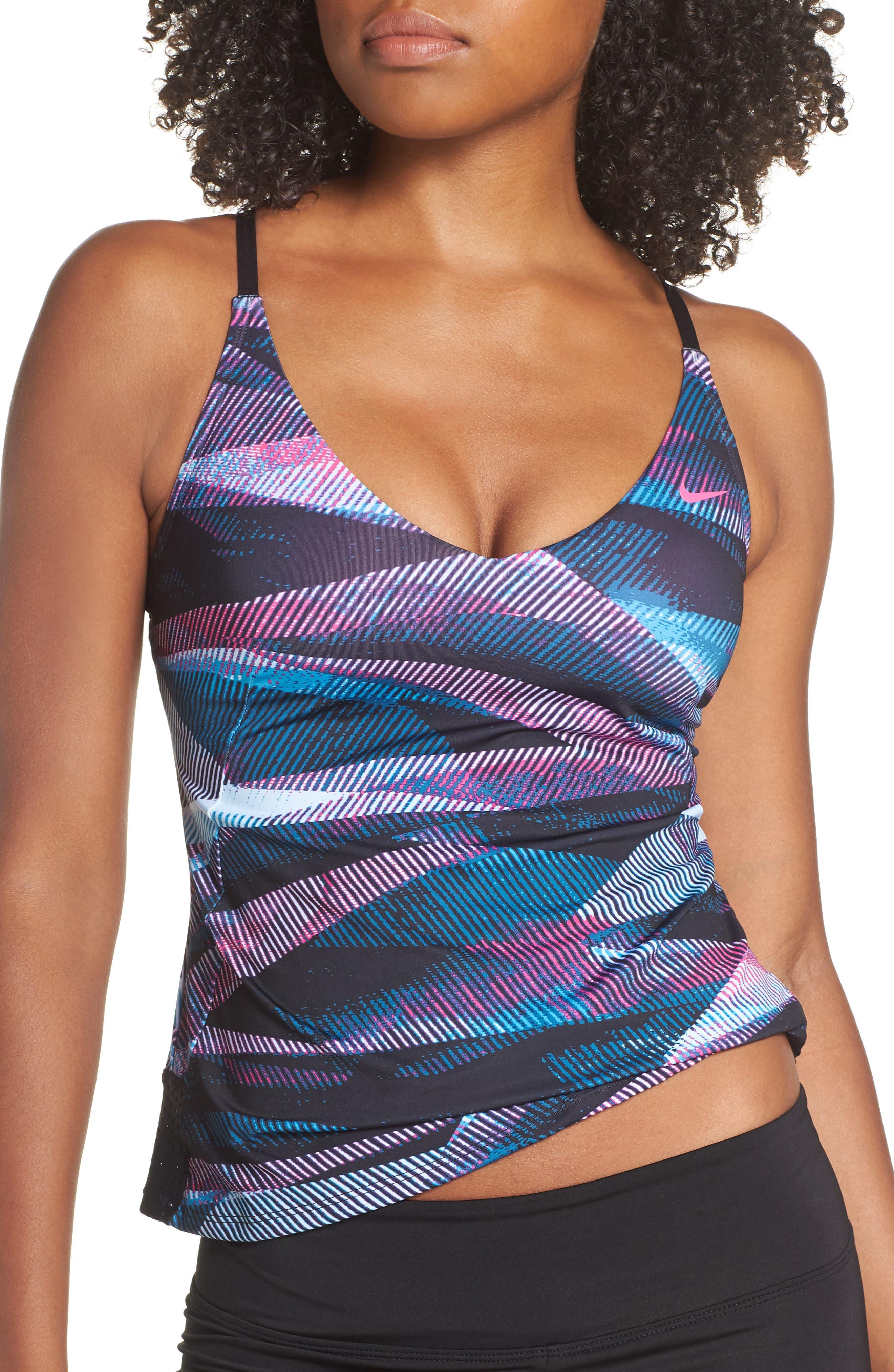 Pattern Crossback Tankini Top,                         Main,                         color, LASER FUCHSIA