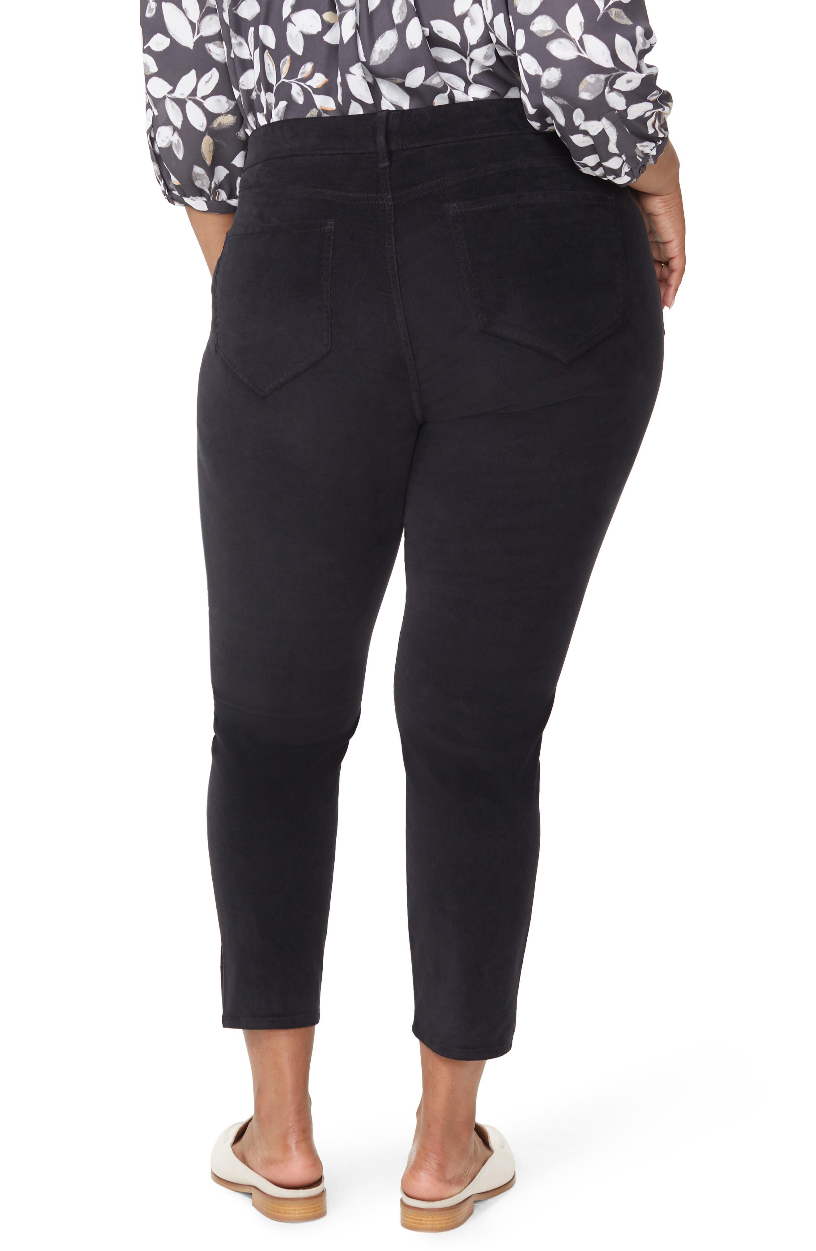 Ami Twist Seam Ankle Slit Velvet Pants,                             Alternate thumbnail 2, color,                             BLACK