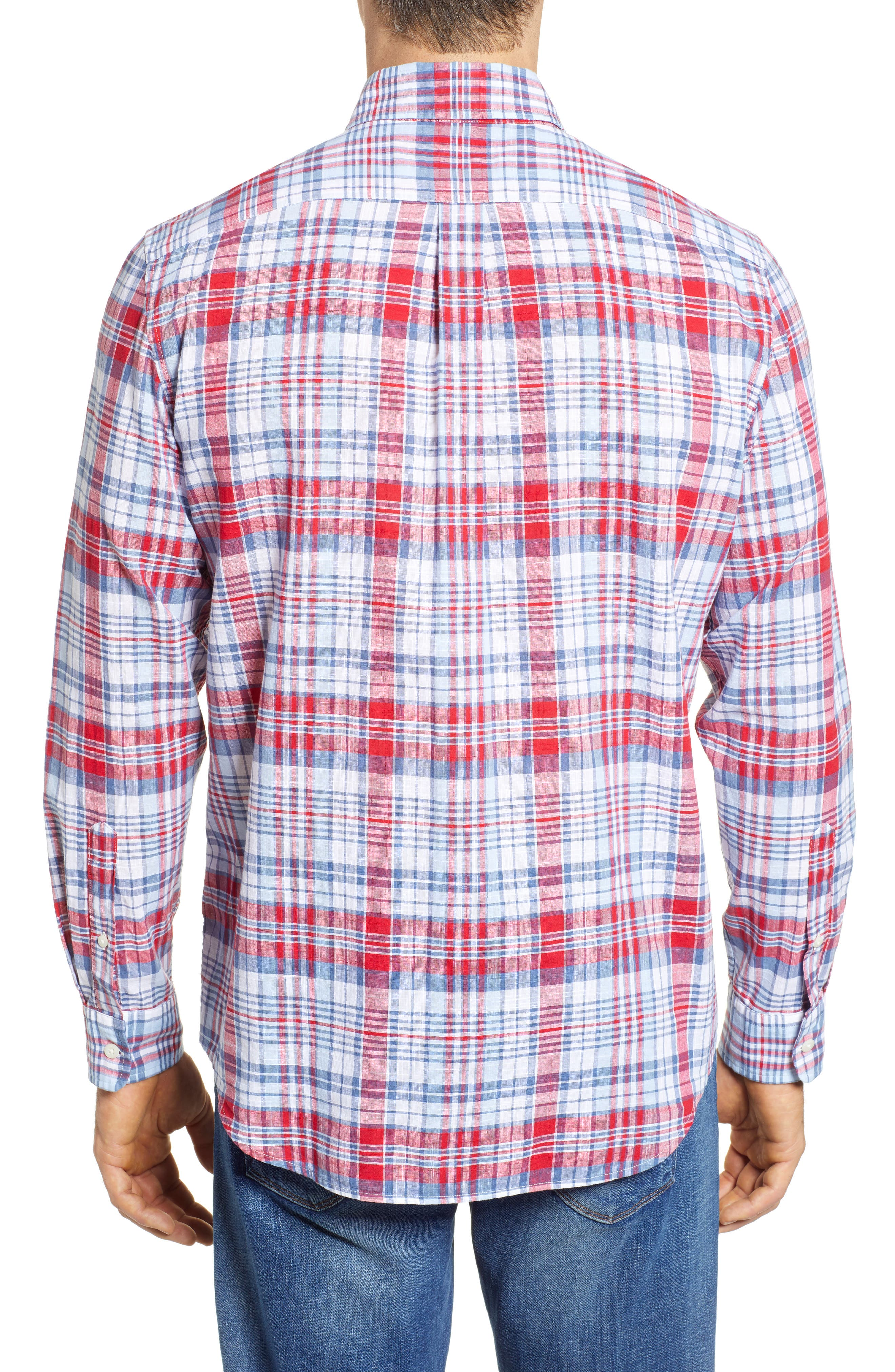 Firework Plaid Tucker Classic Fit Sport Shirt,                             Alternate thumbnail 2, color,                             LIGHTHOUSE RED