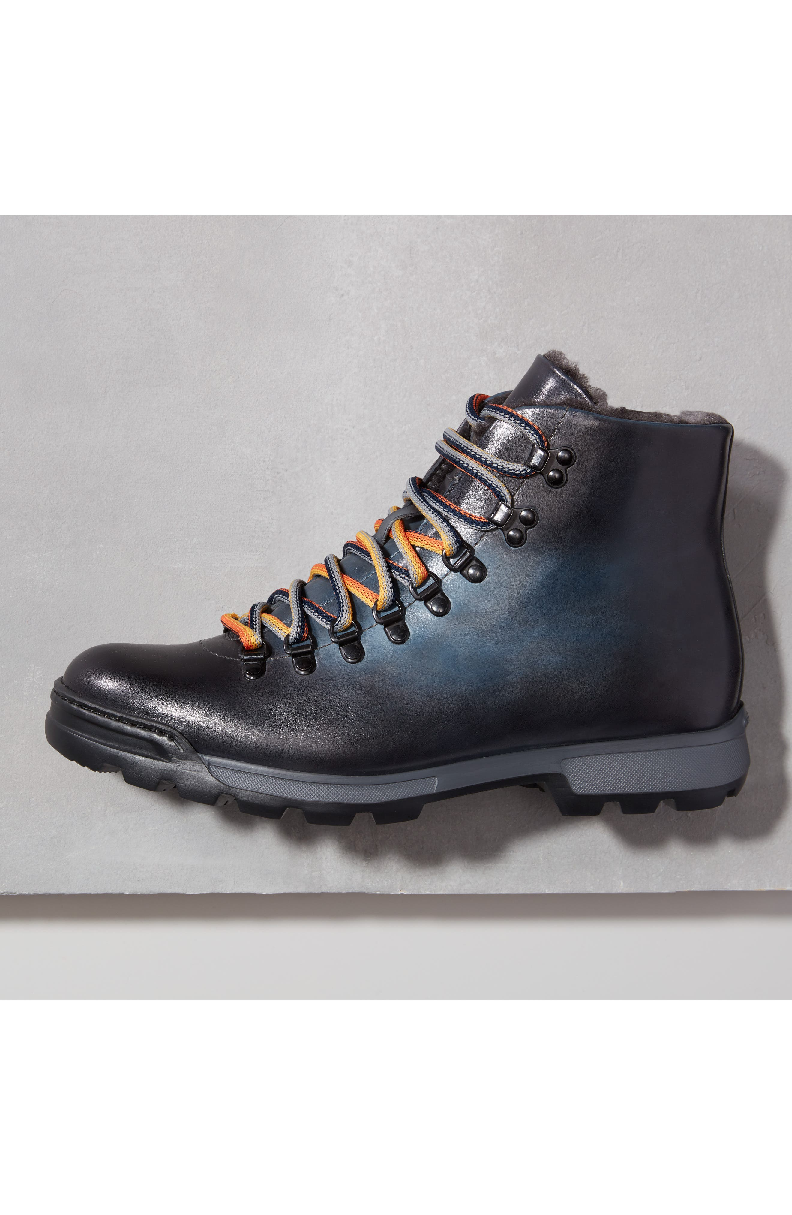 Oberon Genuine Shearling Lace-Up Hiking Boot,                             Alternate thumbnail 9, color,                             NAVY LEATHER
