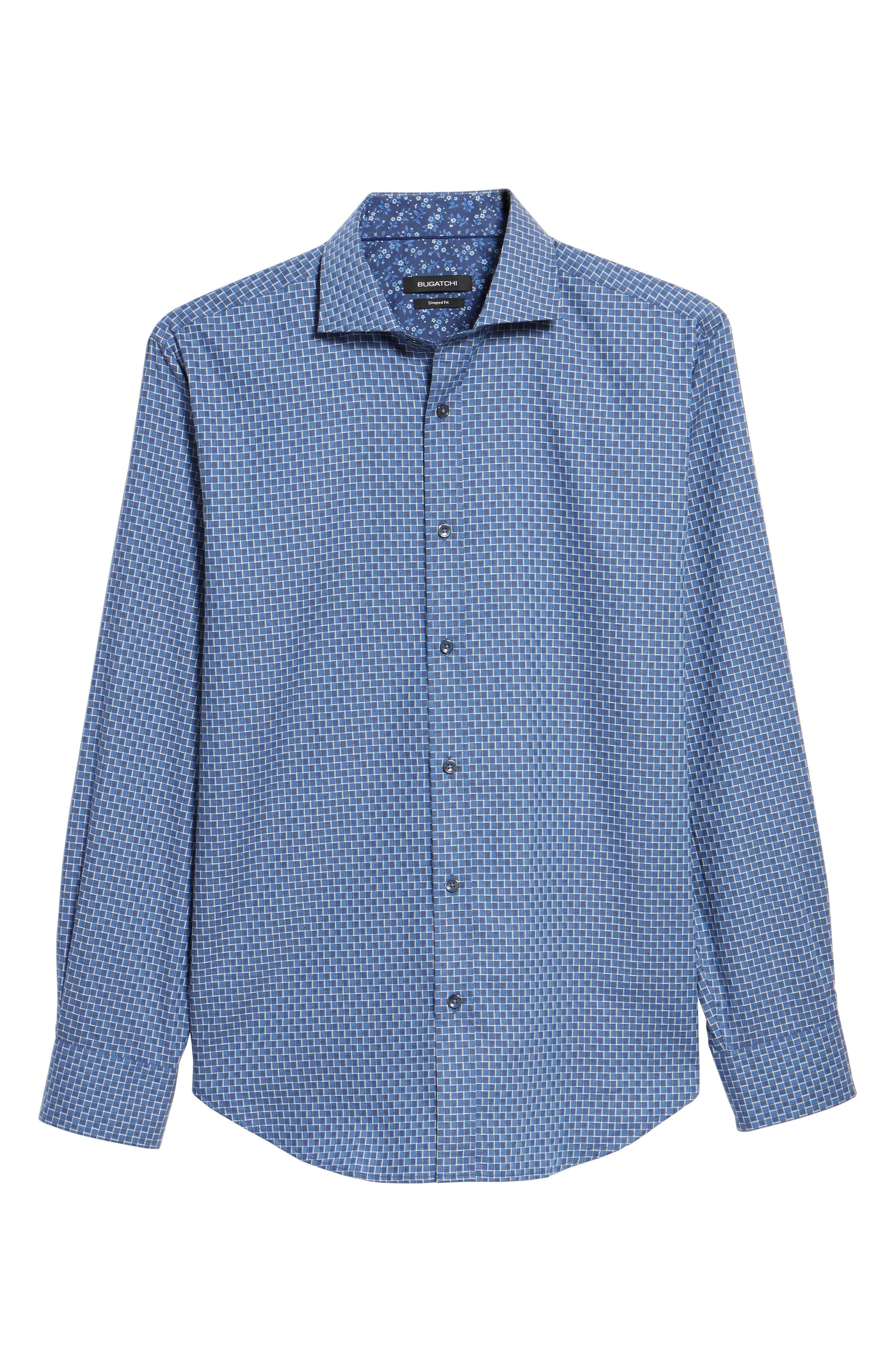 Shaped Fit Jacquard Sport Shirt,                             Alternate thumbnail 6, color,                             030