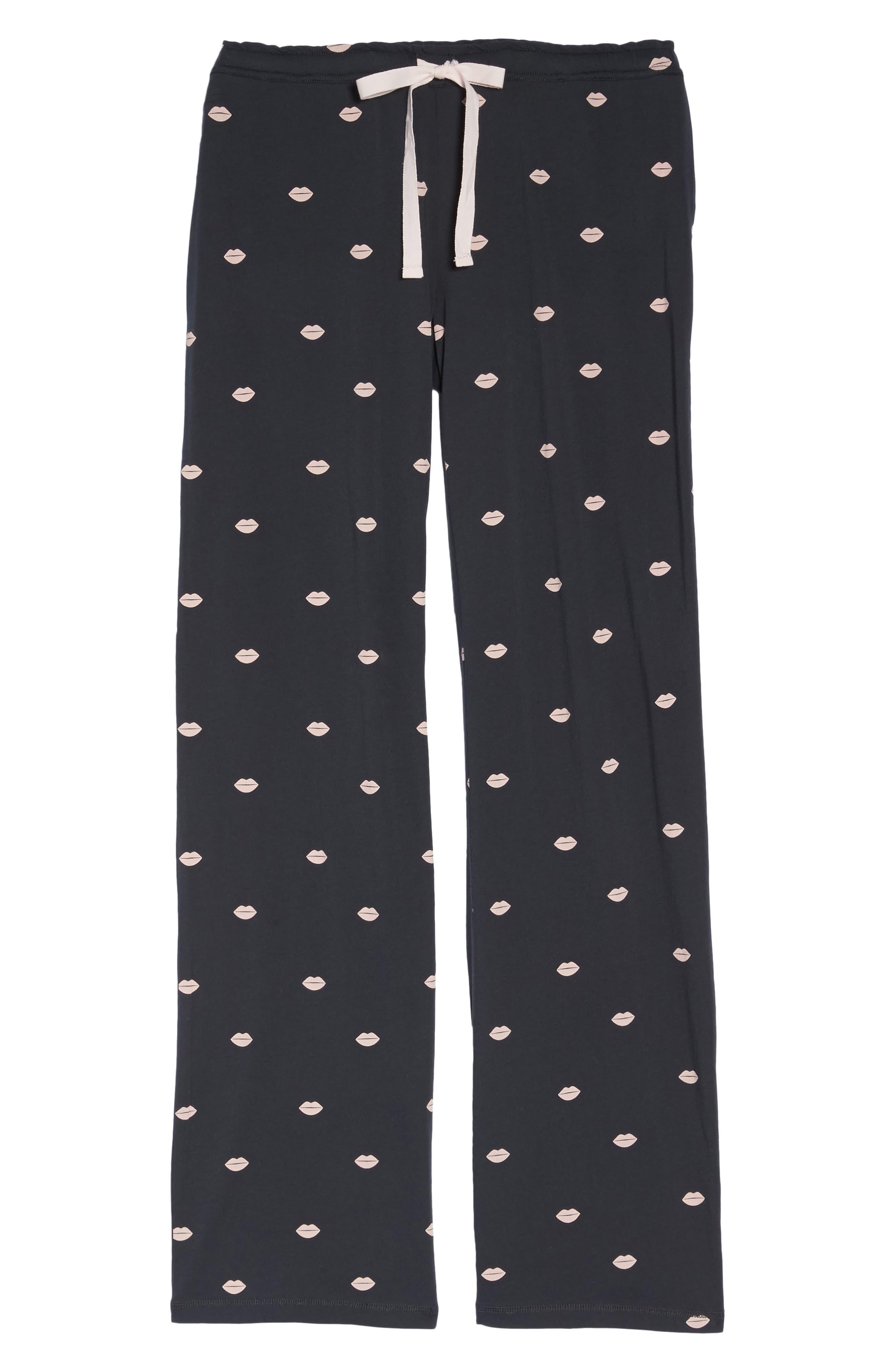 Lip Print Pajama Pants,                             Alternate thumbnail 6, color,                             030