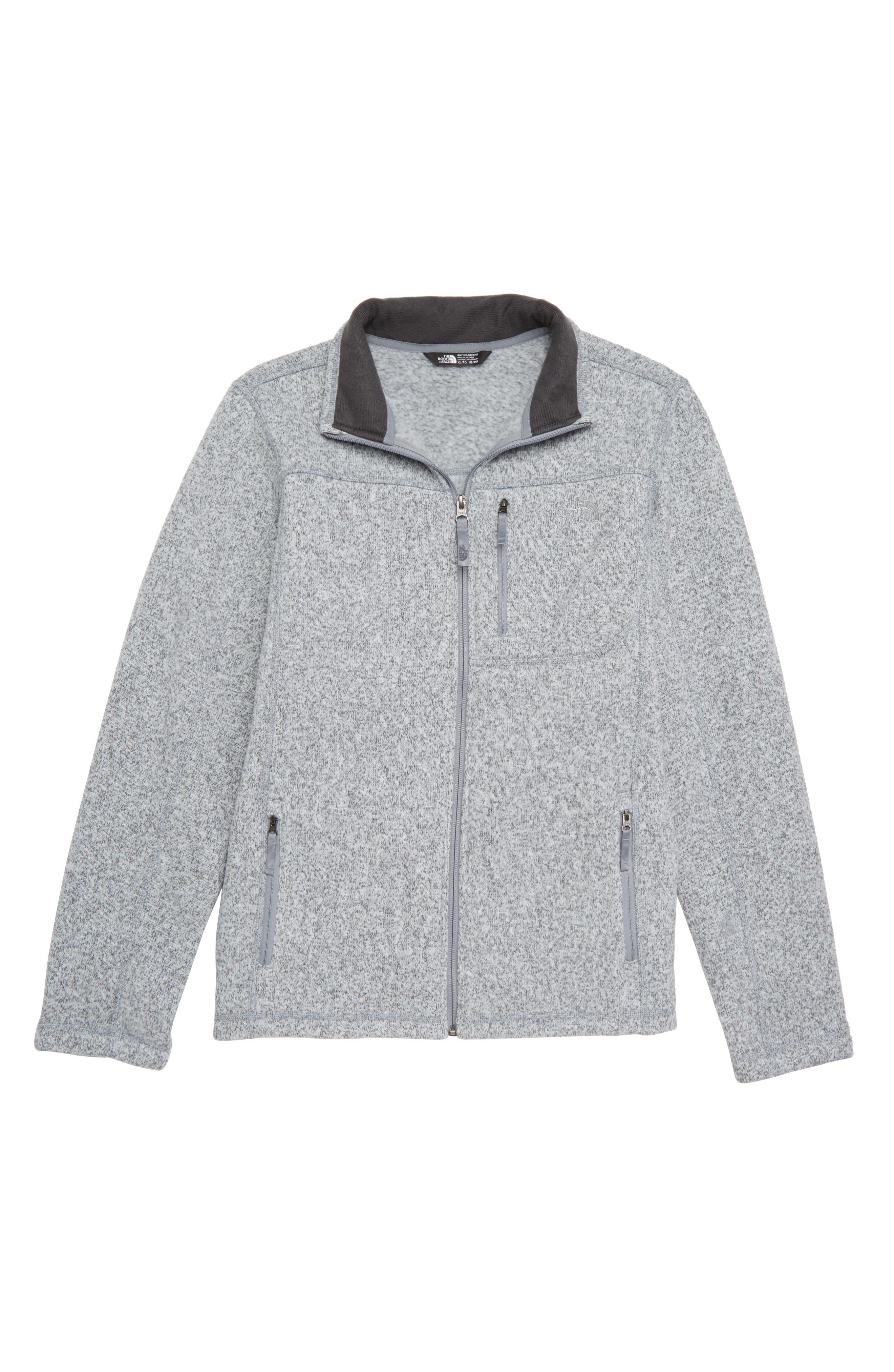 THE NORTH FACE Gordon Lyons Sweater Fleece Zip Jacket, Main, color, MEDIUM HEATHER GREY