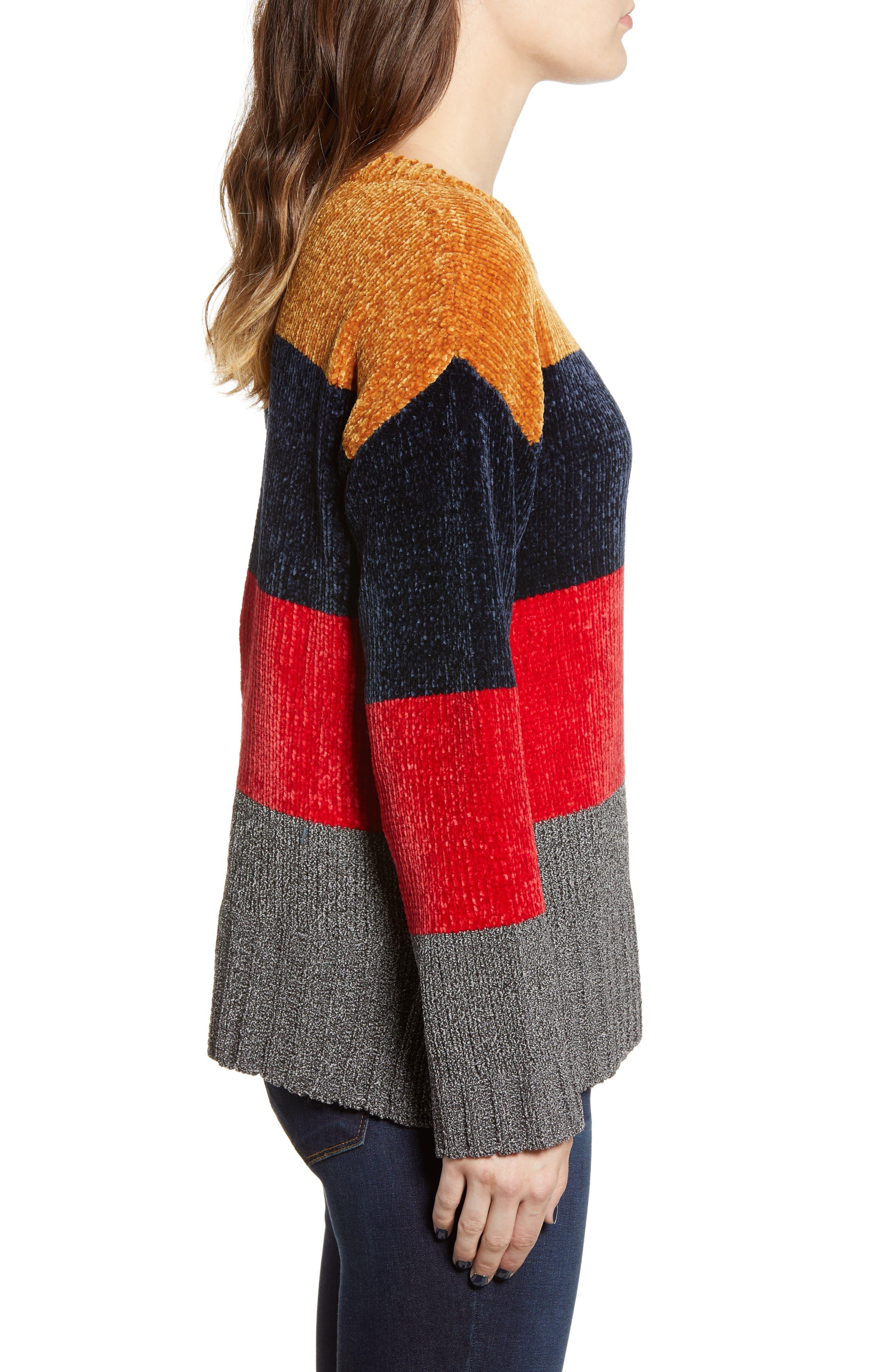 COTTON EMPORIUM,                             Stripe Chenille Sweater,                             Alternate thumbnail 3, color,                             710