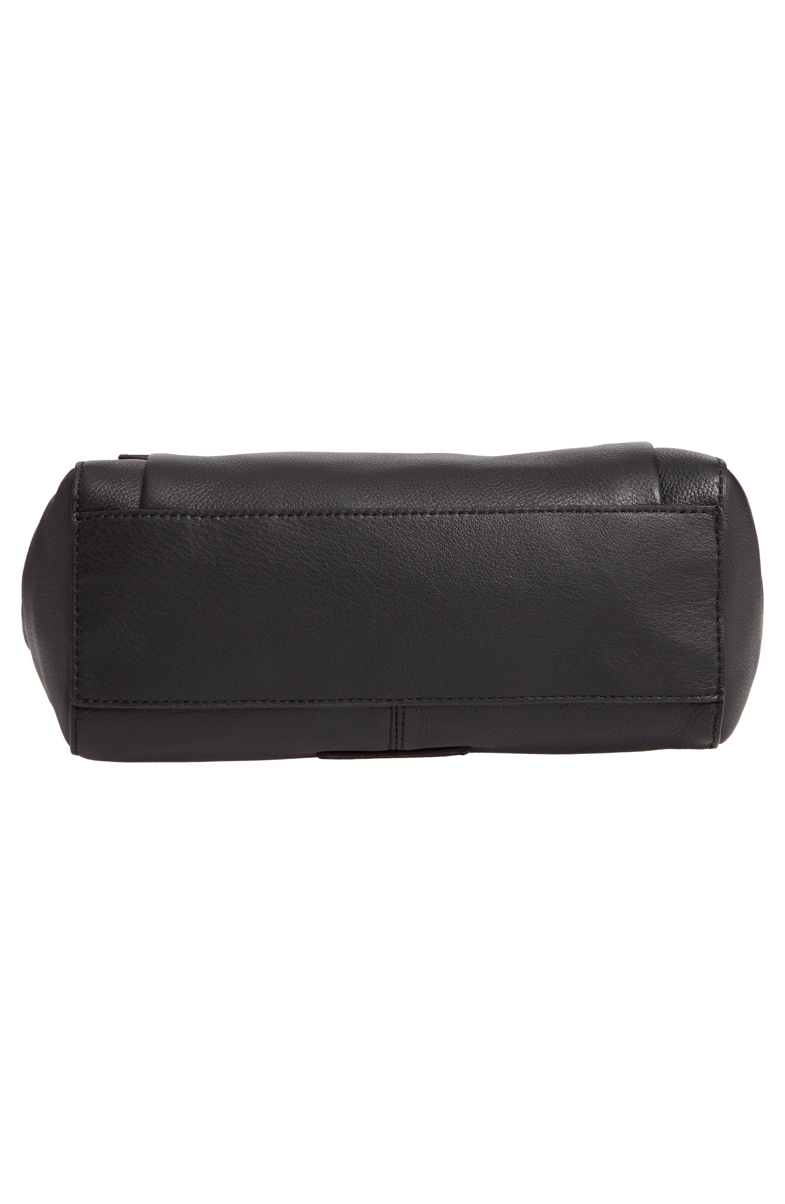 Leather Crossbody Bag,                             Alternate thumbnail 6, color,                             BLACK