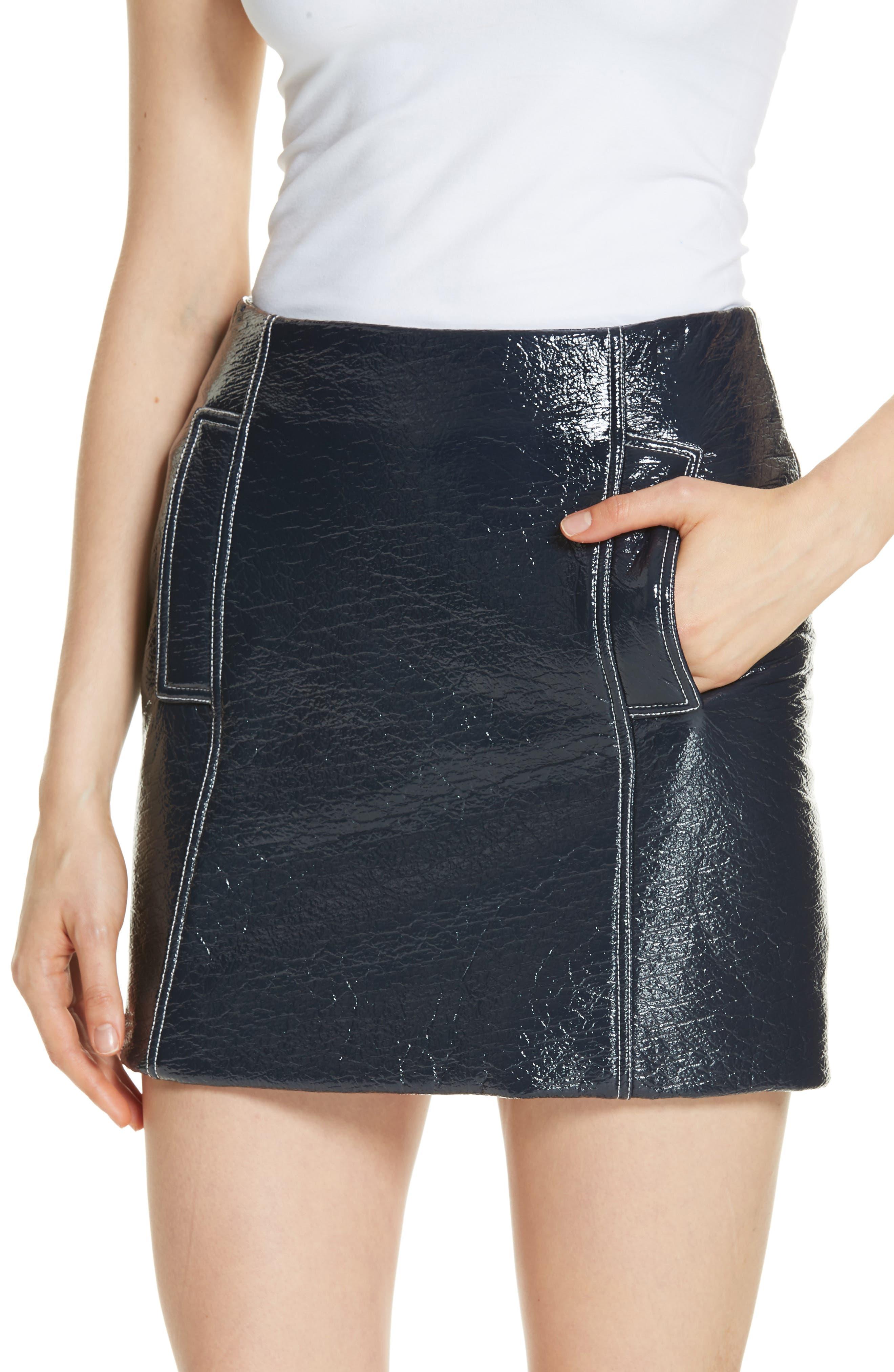 Vara Crinkle Faux Patent Leather Miniskirt,                             Alternate thumbnail 4, color,                             400