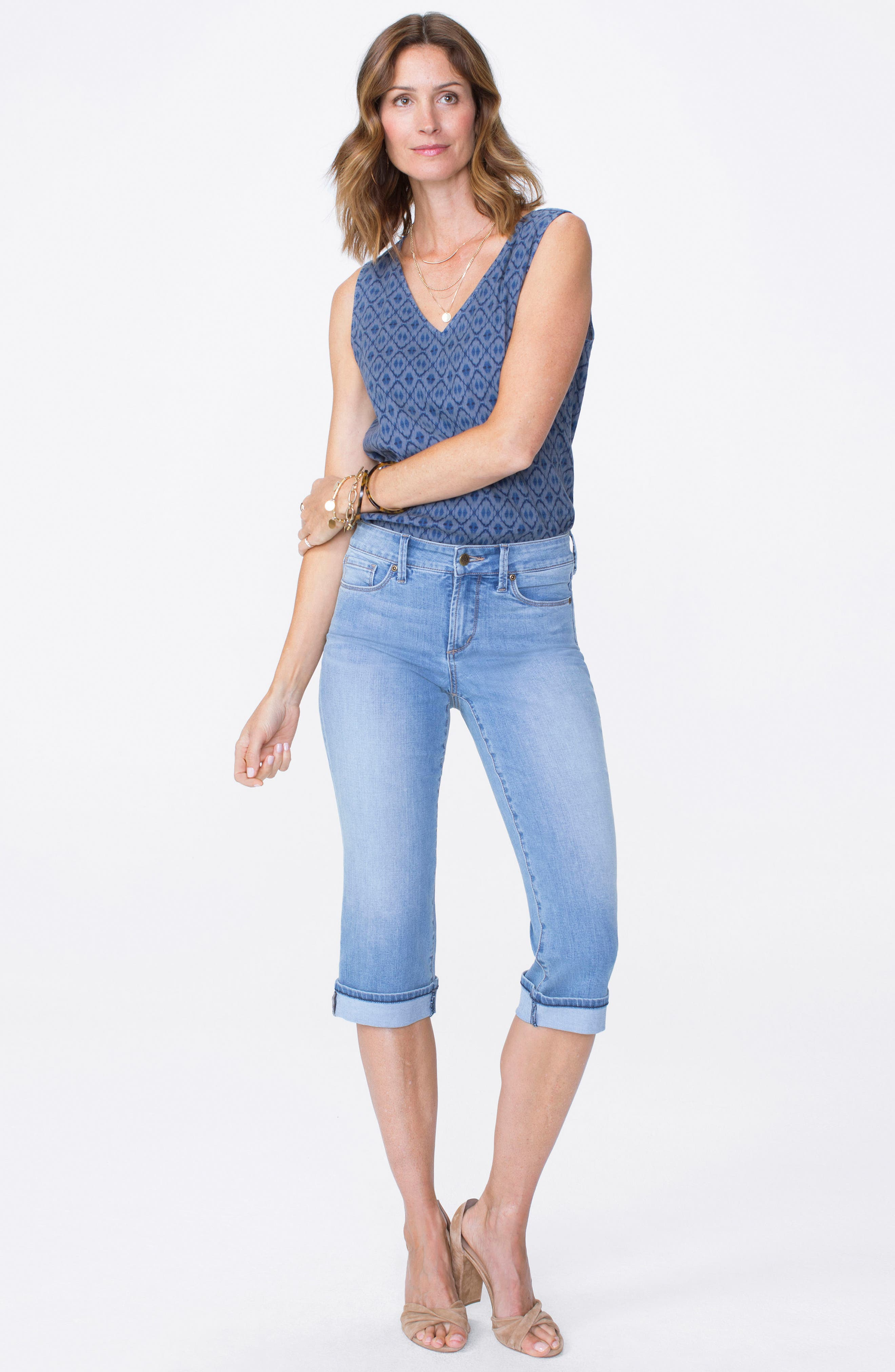 Marilyn High Waist Cuffed Stretch Crop Jeans,                             Alternate thumbnail 4, color,                             PAMPELONNE