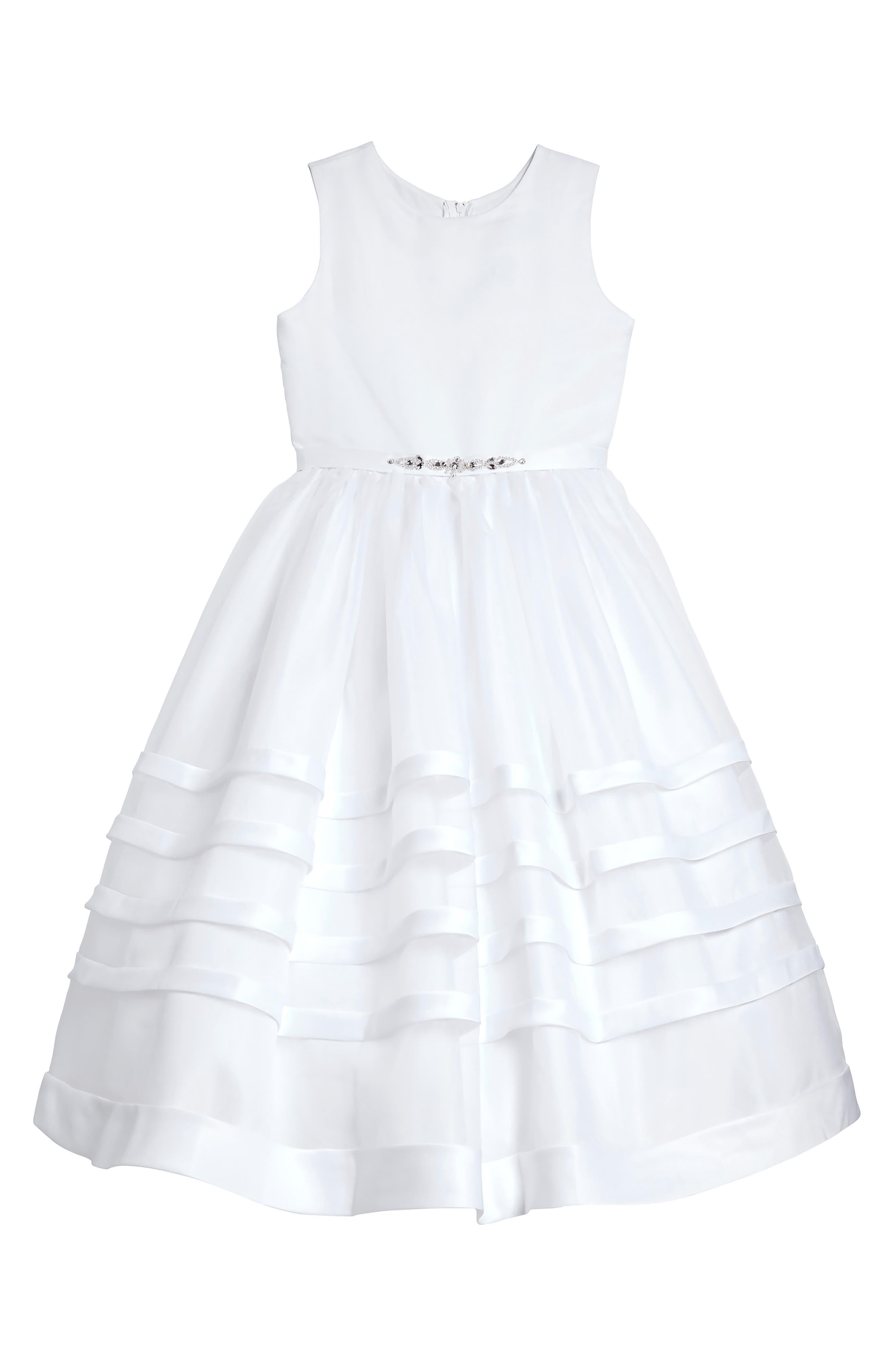 Satin & Organza Dress,                             Main thumbnail 1, color,                             100