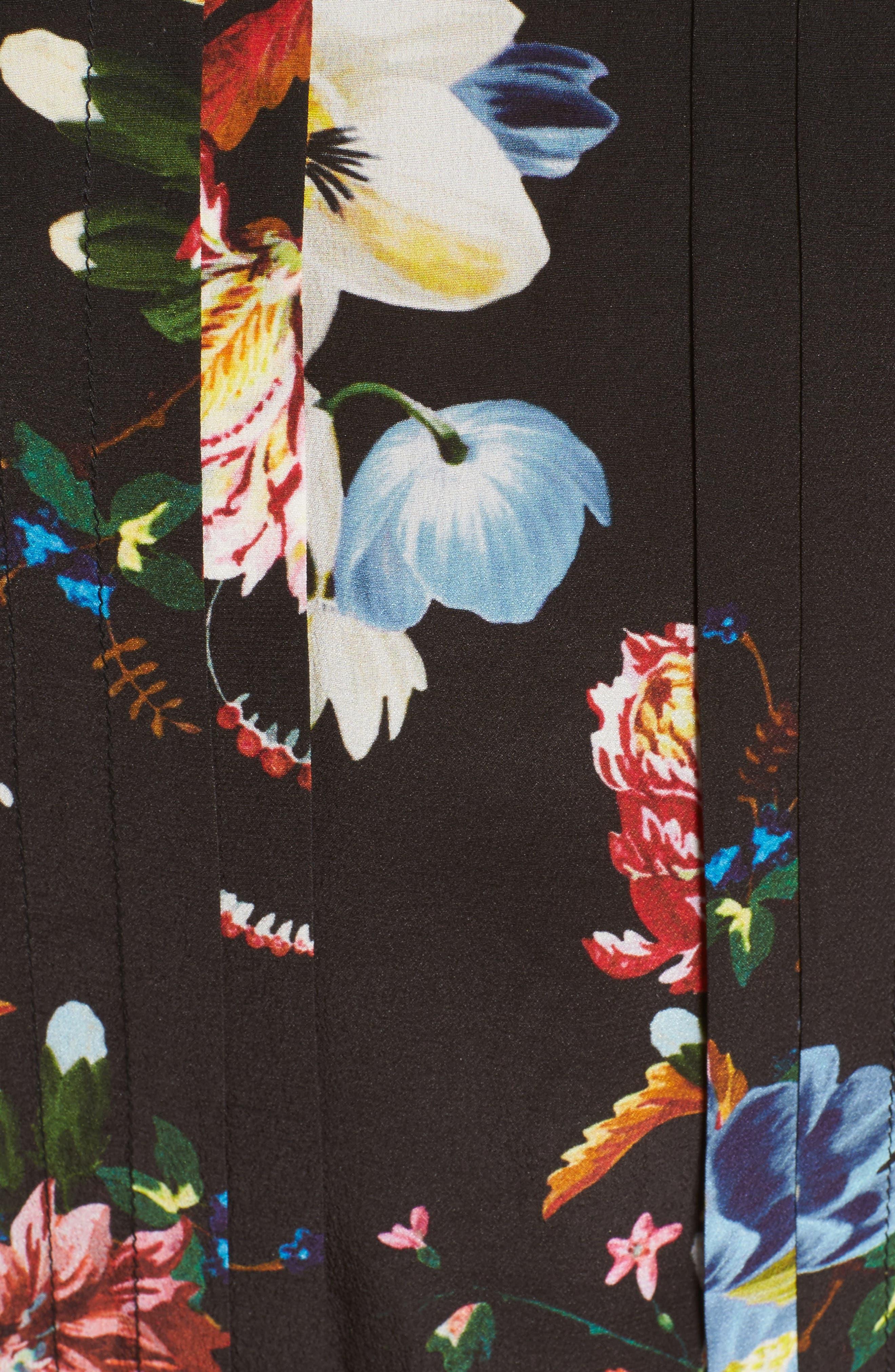 Richelle Tie Neck Floral Print Silk Crêpe de Chine Dress,                             Alternate thumbnail 5, color,                             001