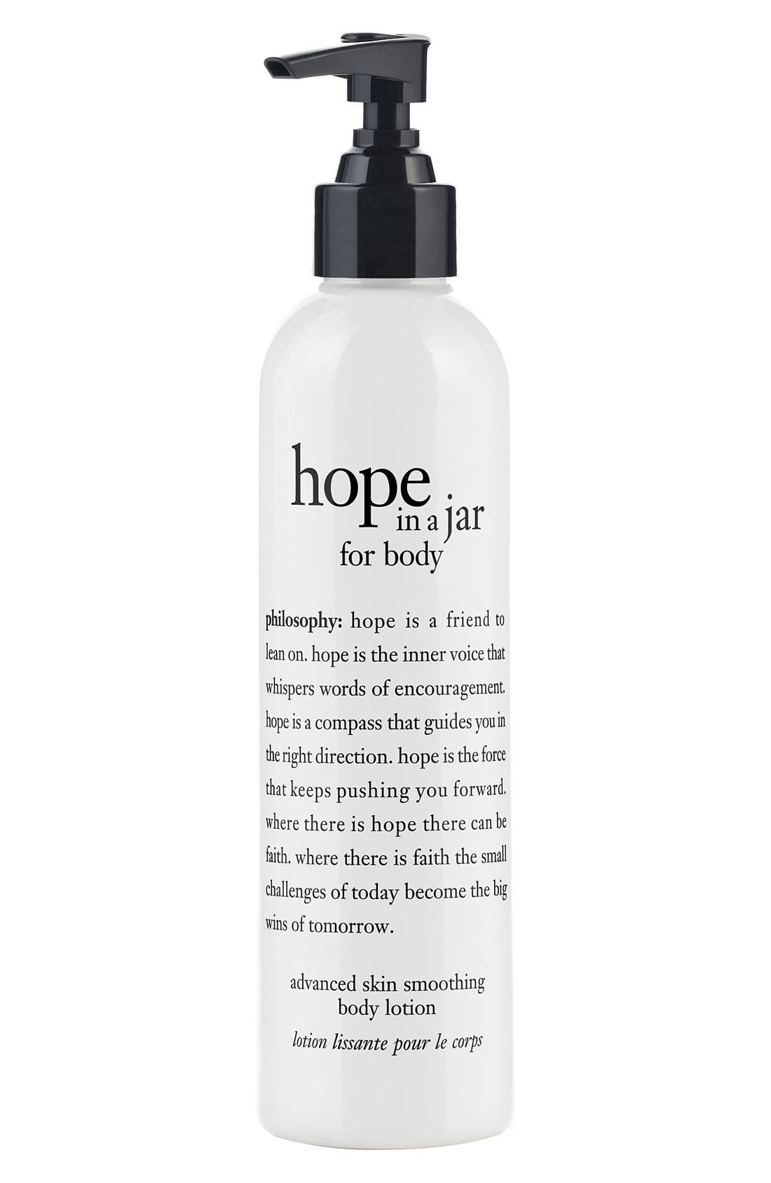 'hope in a jar for body' advanced skin smoothing body lotion, Main, color, 000