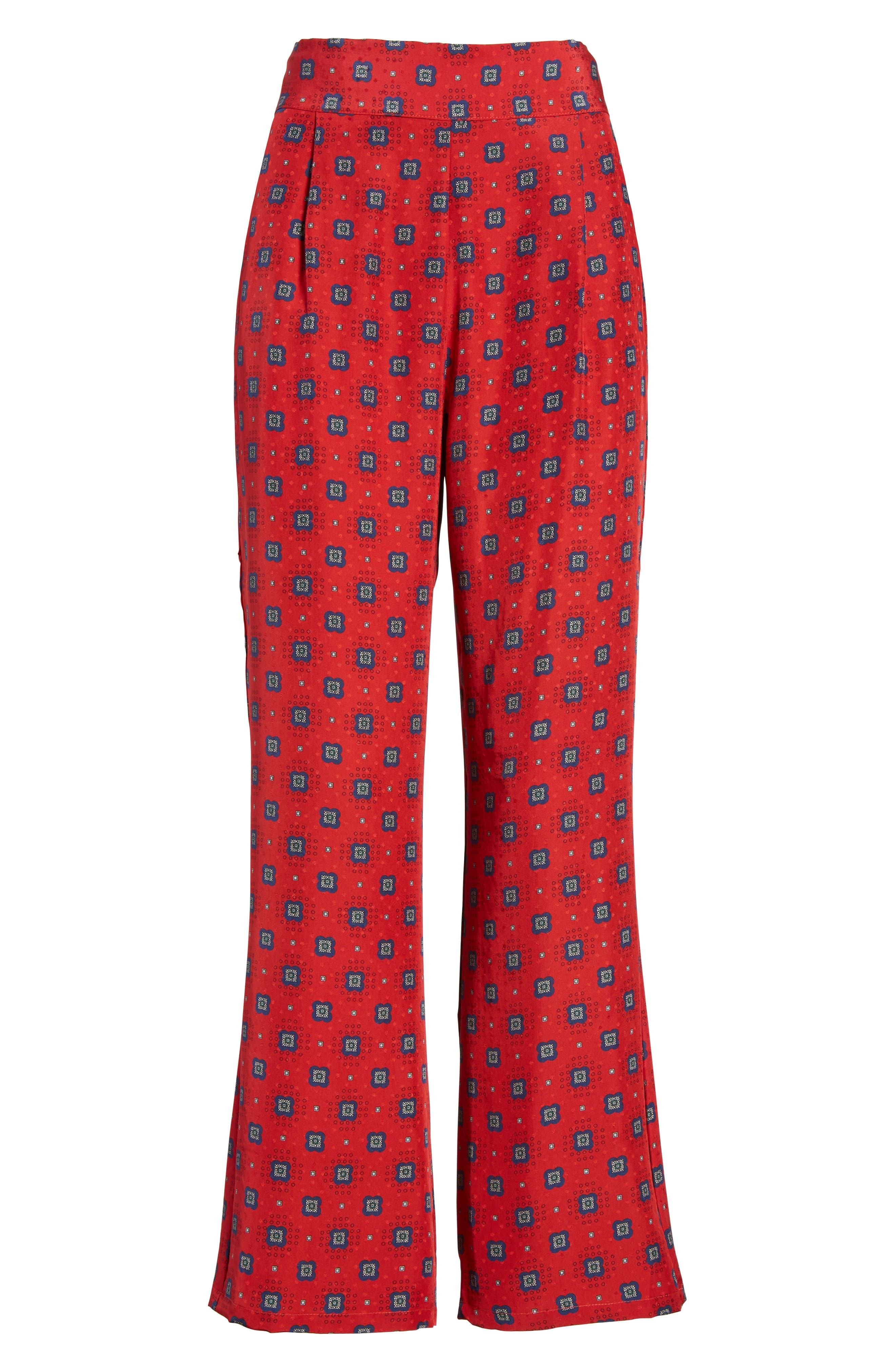 Isla Silk Crop Pants,                             Alternate thumbnail 12, color,