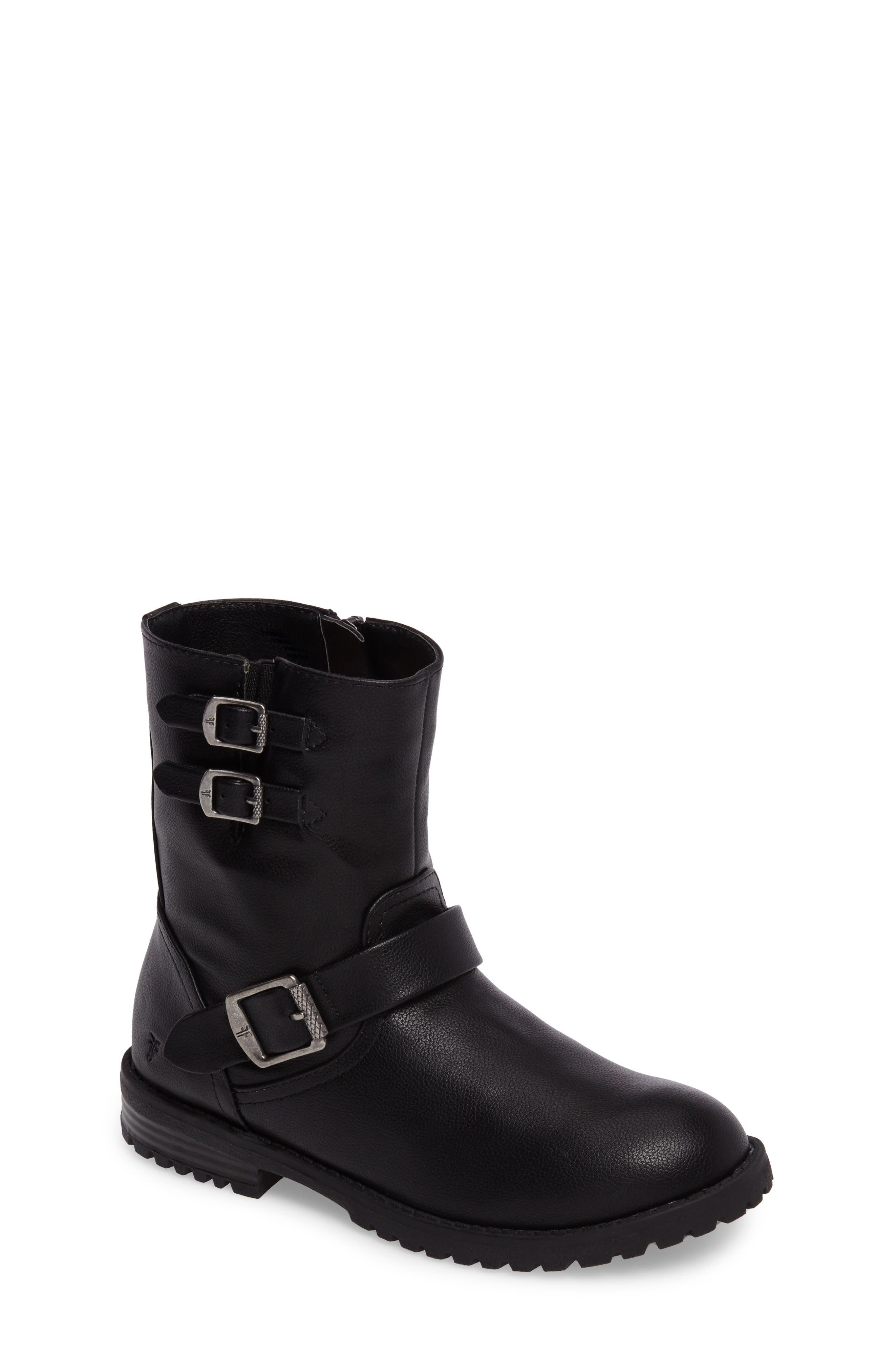FRYE Veronica Buckle-Strap Engineer Boot, Main, color, BLACK
