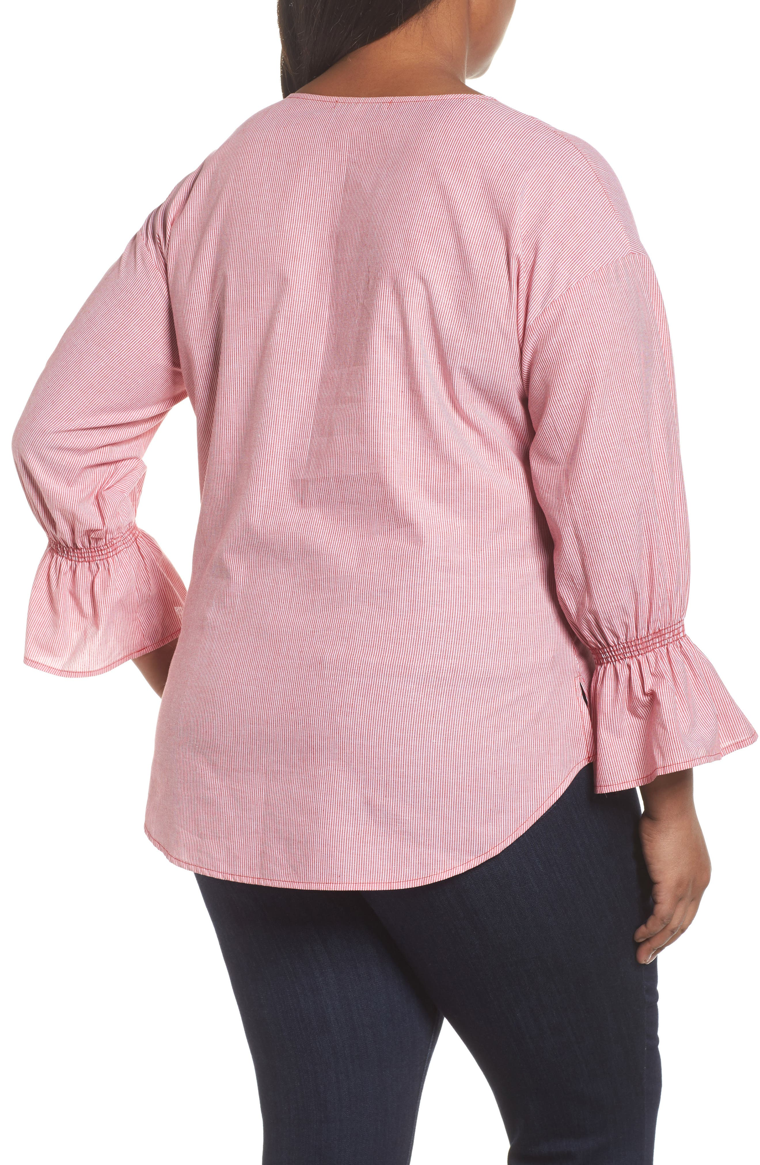 Pinstripe Bell Cuff Top,                             Alternate thumbnail 4, color,