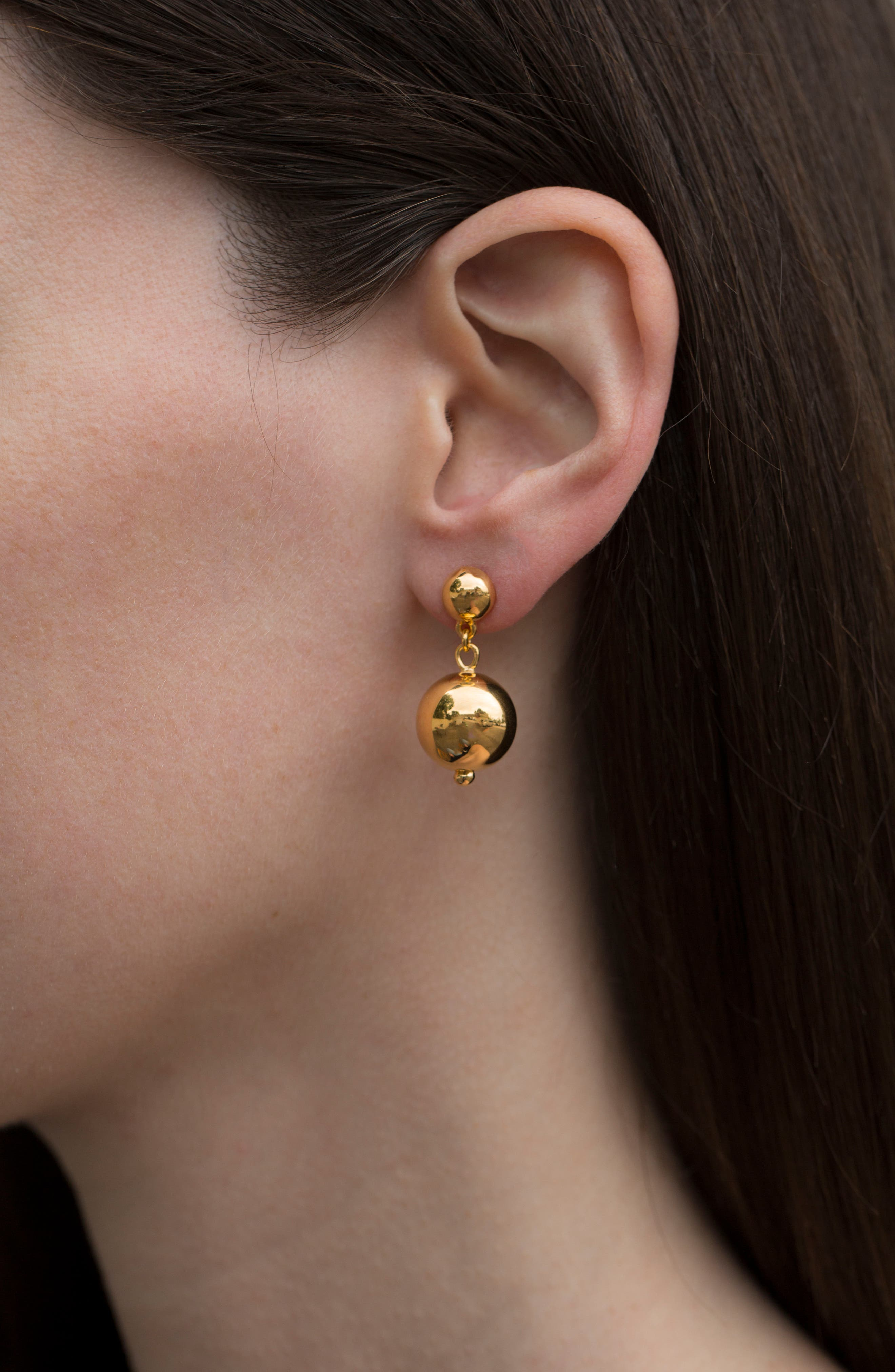 Vermeil Ball Drop Earrings,                             Alternate thumbnail 3, color,                             GOLD