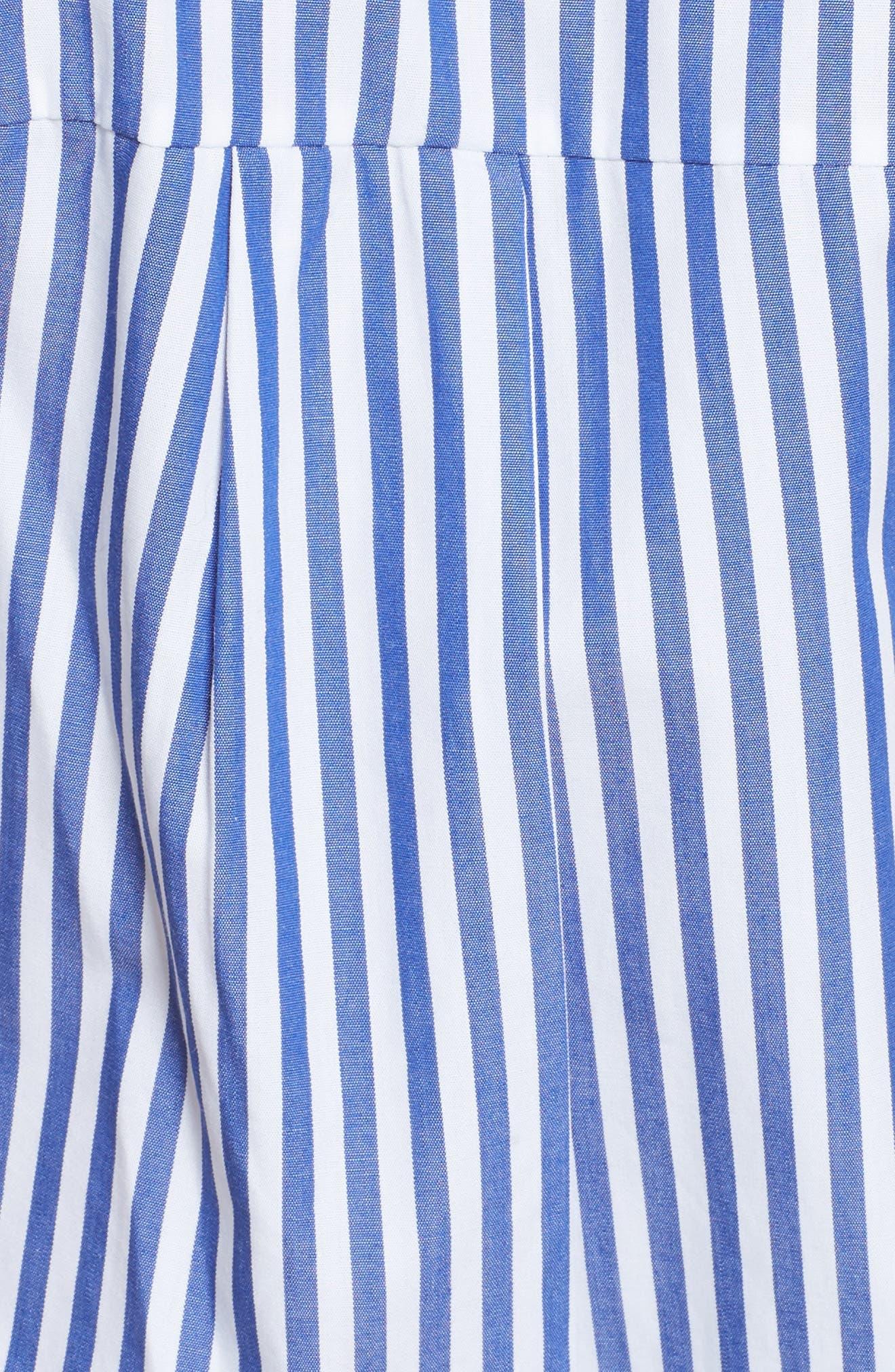 Ruched Stripe Shirtdress,                             Alternate thumbnail 5, color,                             BLUE/WHITE STRIPE