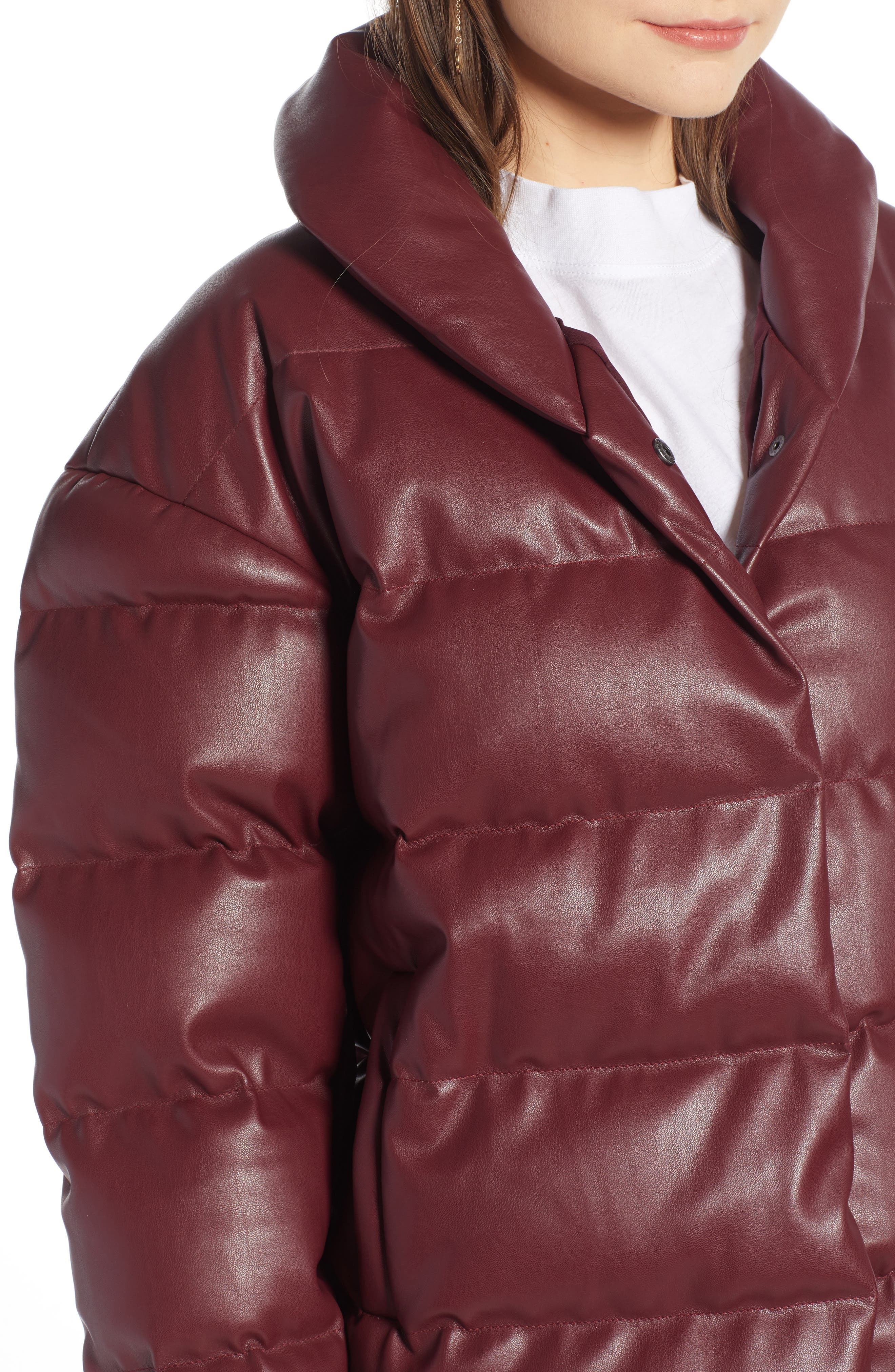 SOMETHING NAVY,                             Faux Leather Puffer Coat,                             Alternate thumbnail 4, color,                             601
