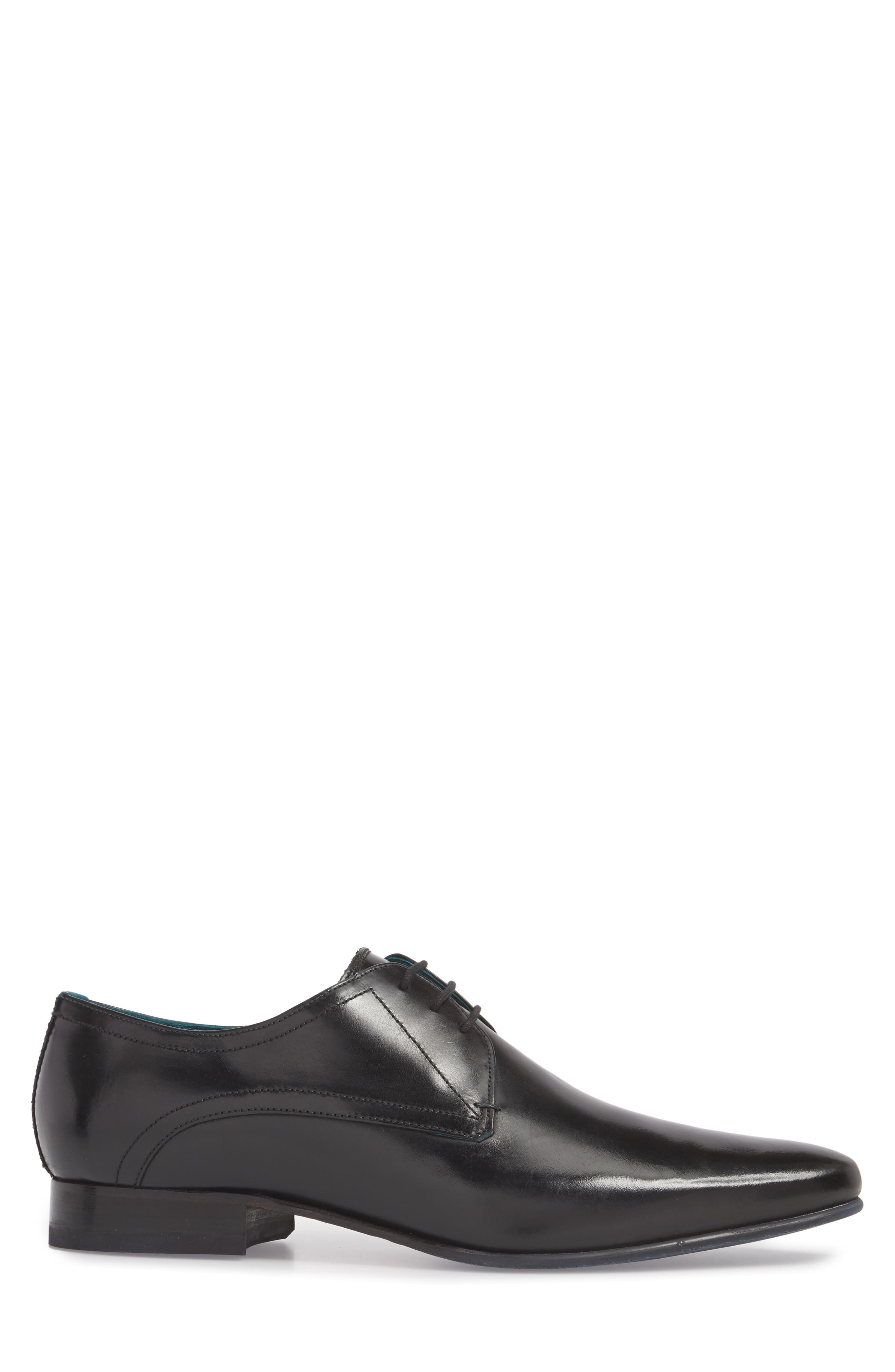 Bhartli Plain Toe Derby,                             Alternate thumbnail 3, color,                             BLACK LEATHER