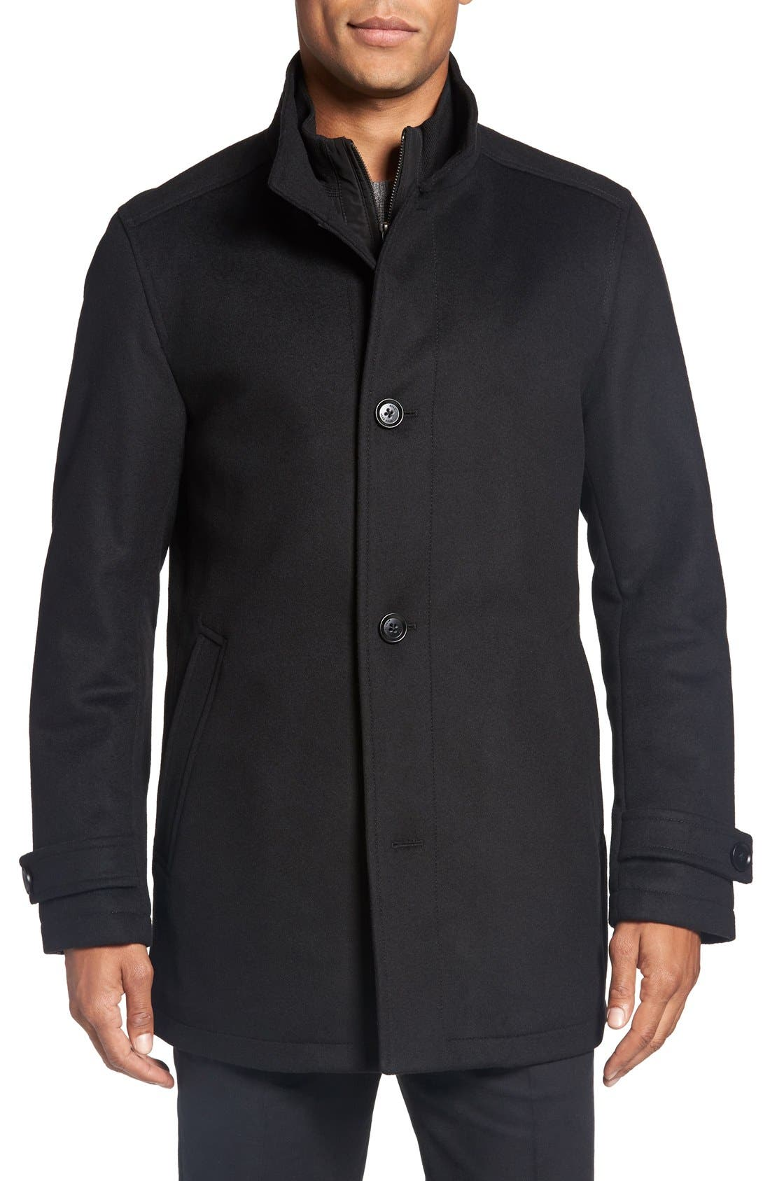 BOSS 'Camlow' Wool & Cashmere Car Coat, Main, color, 001