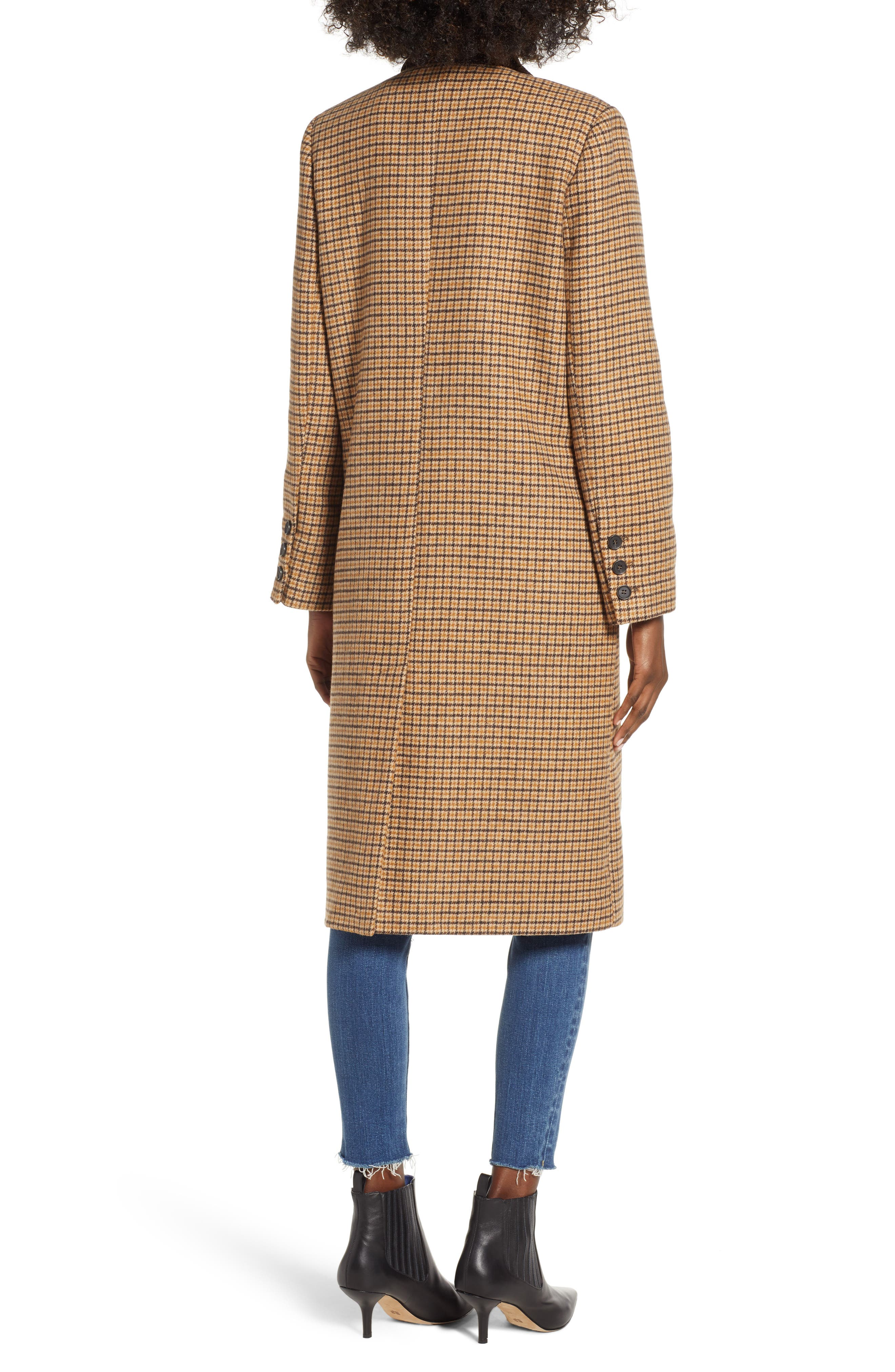 MOON RIVER,                             Houndstooth Double Breasted COat,                             Alternate thumbnail 2, color,                             BROWN PLAID