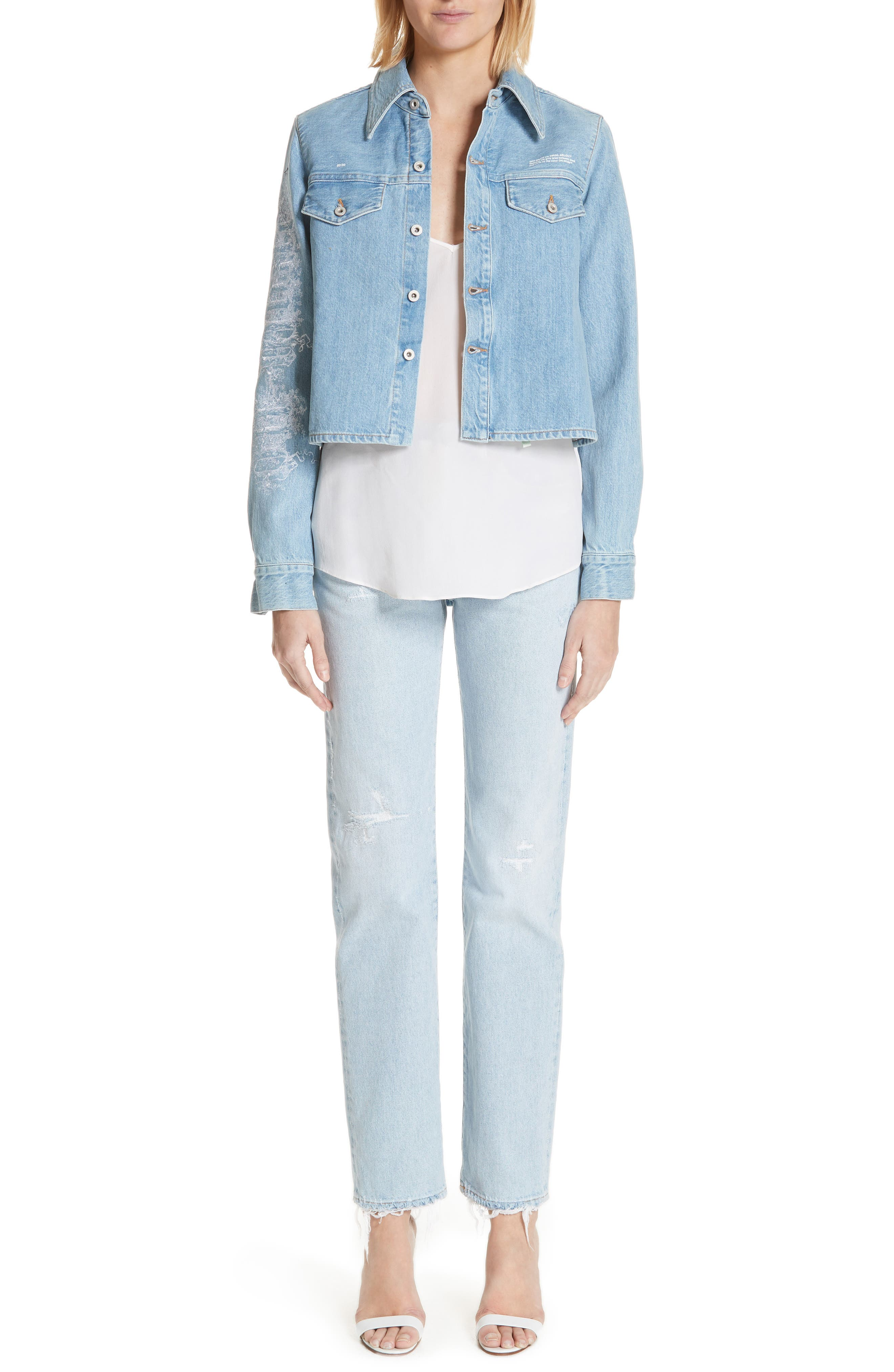 Crop Front Denim Shirt,                             Alternate thumbnail 7, color,                             400