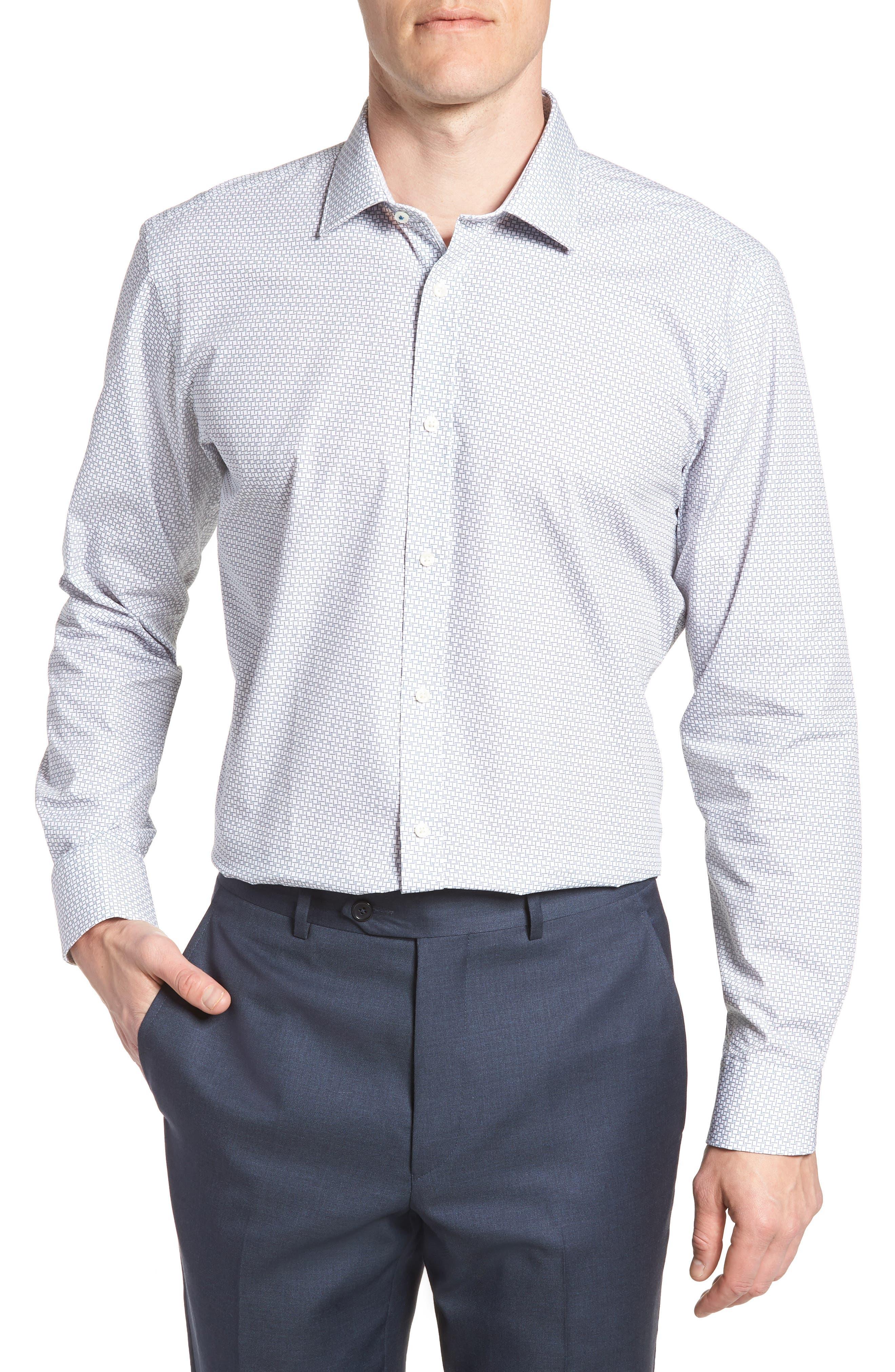 Rosprim Trim Fit Geometric Dress Shirt,                         Main,                         color, GREY
