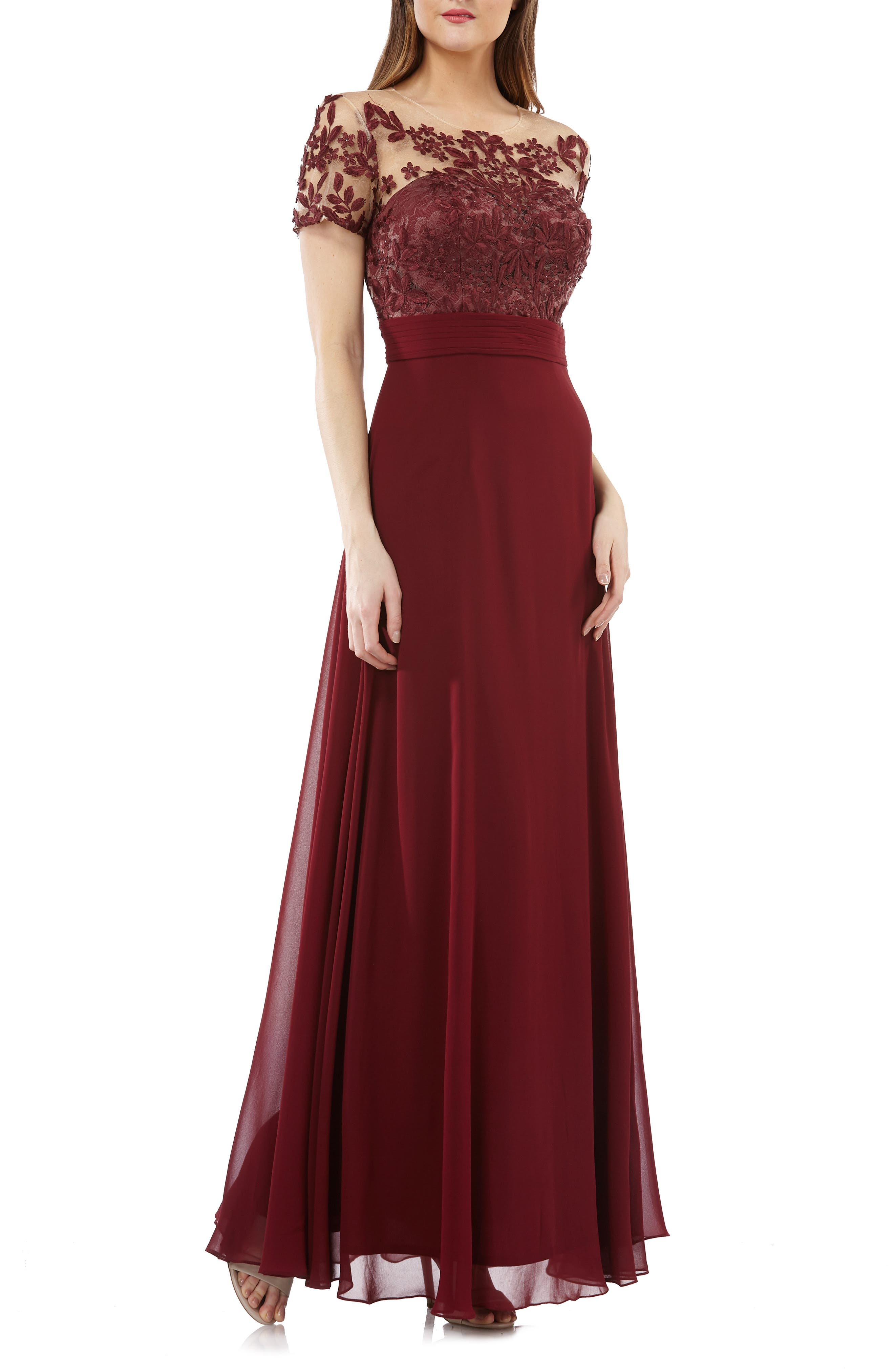 Js Collections Embroidered Illusion Bodice Gown, Burgundy
