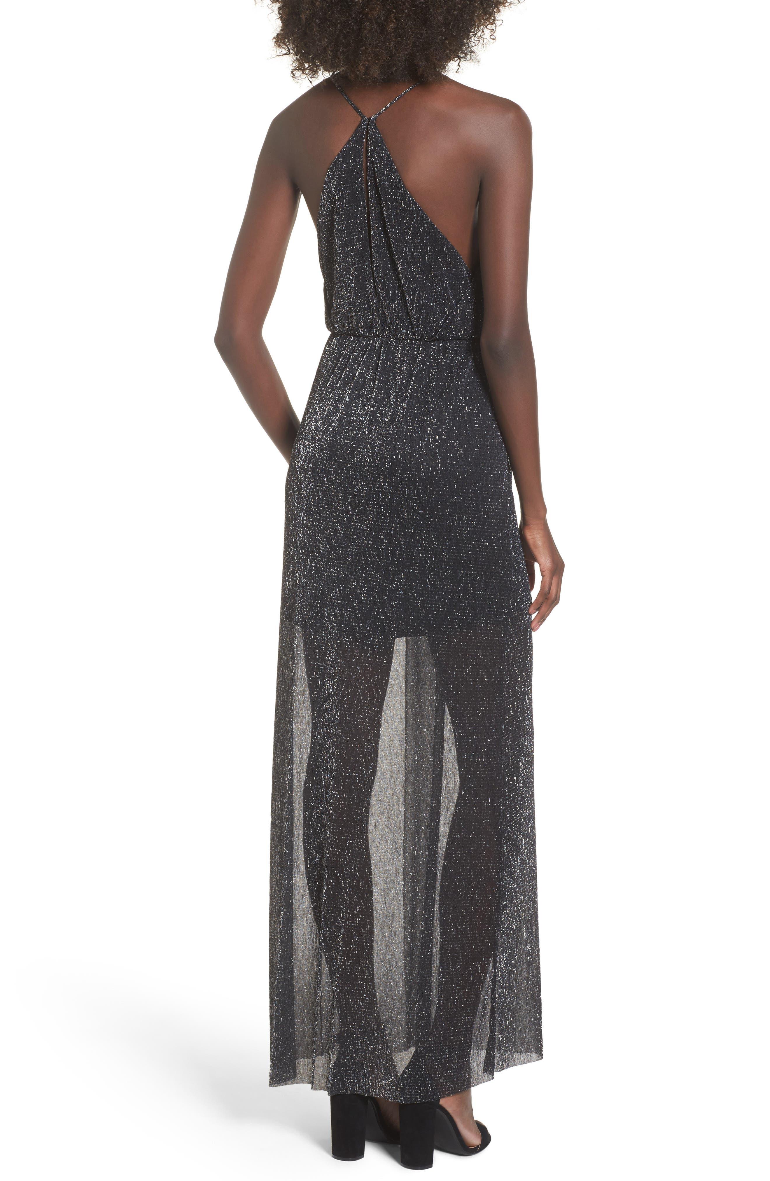 Metallic Surplice Maxi Dress,                             Alternate thumbnail 3, color,