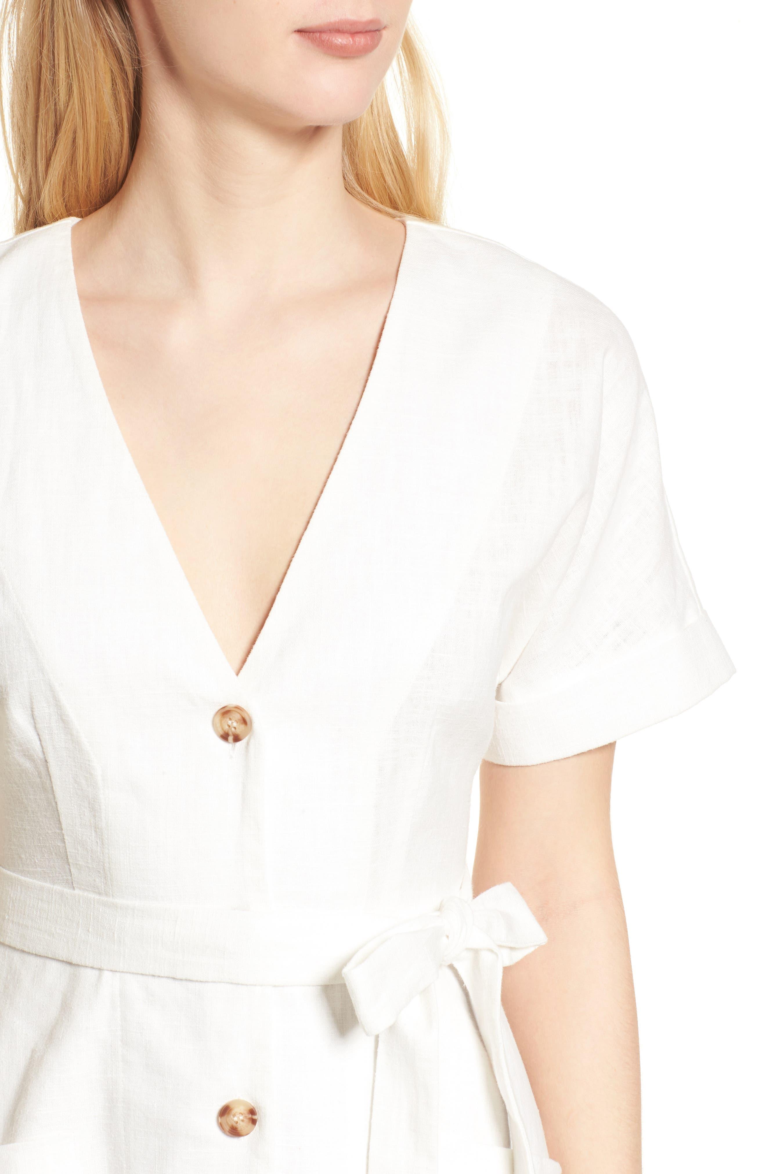 Linen & Cotton Button Front Dress,                             Alternate thumbnail 4, color,                             100