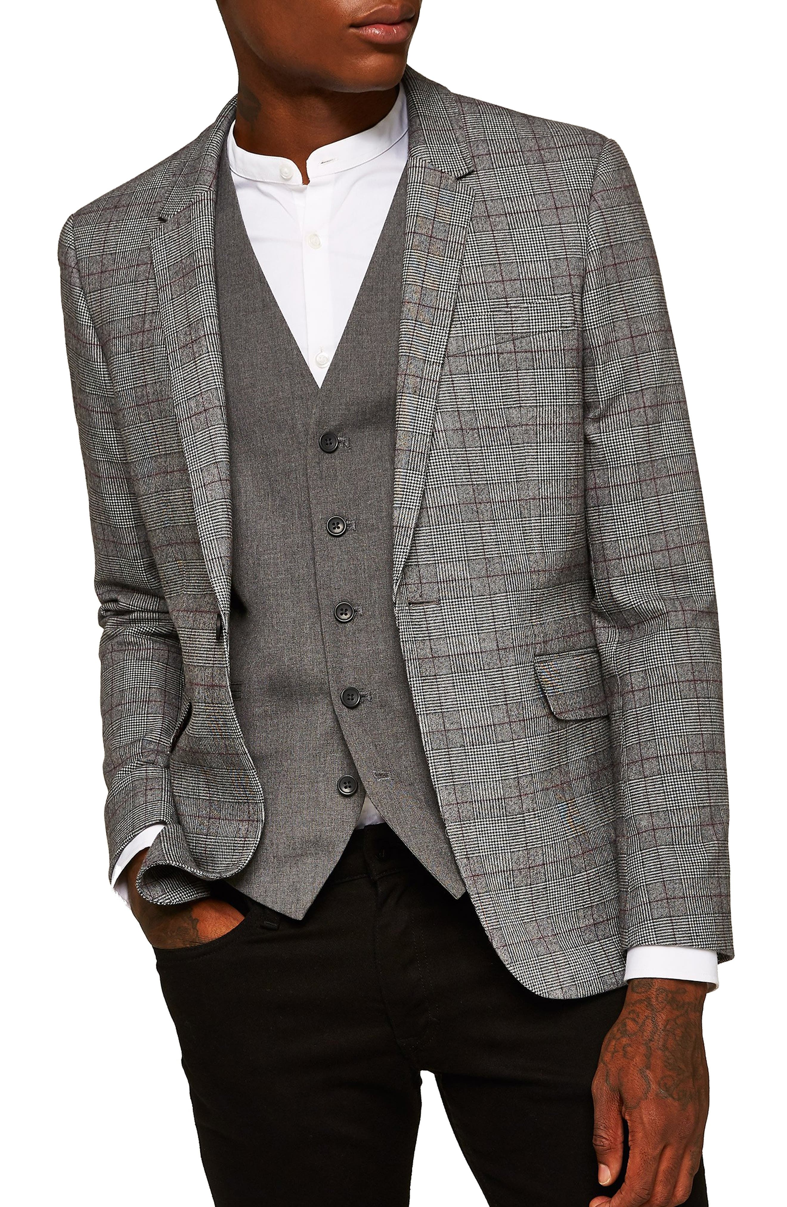 TOPMAN Skinny Fit Check Sport Coat in Grey