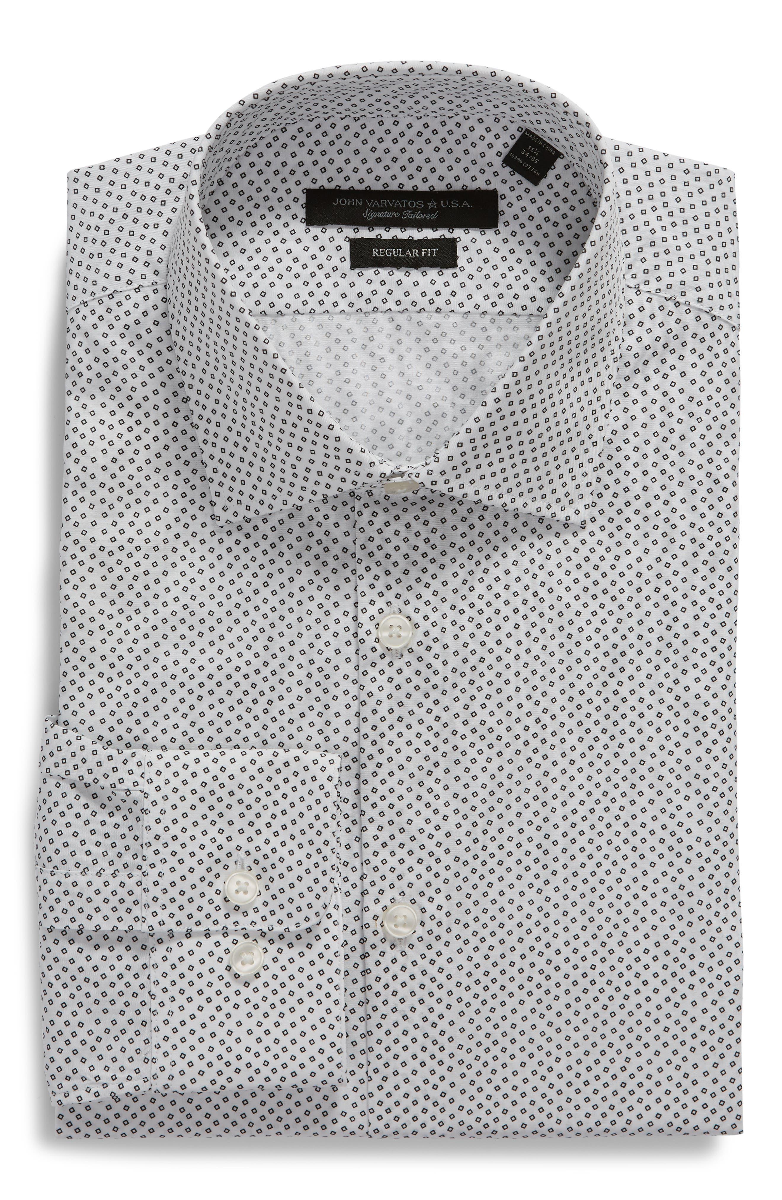 Regular Fit Print Dress Shirt,                             Alternate thumbnail 5, color,                             SALT