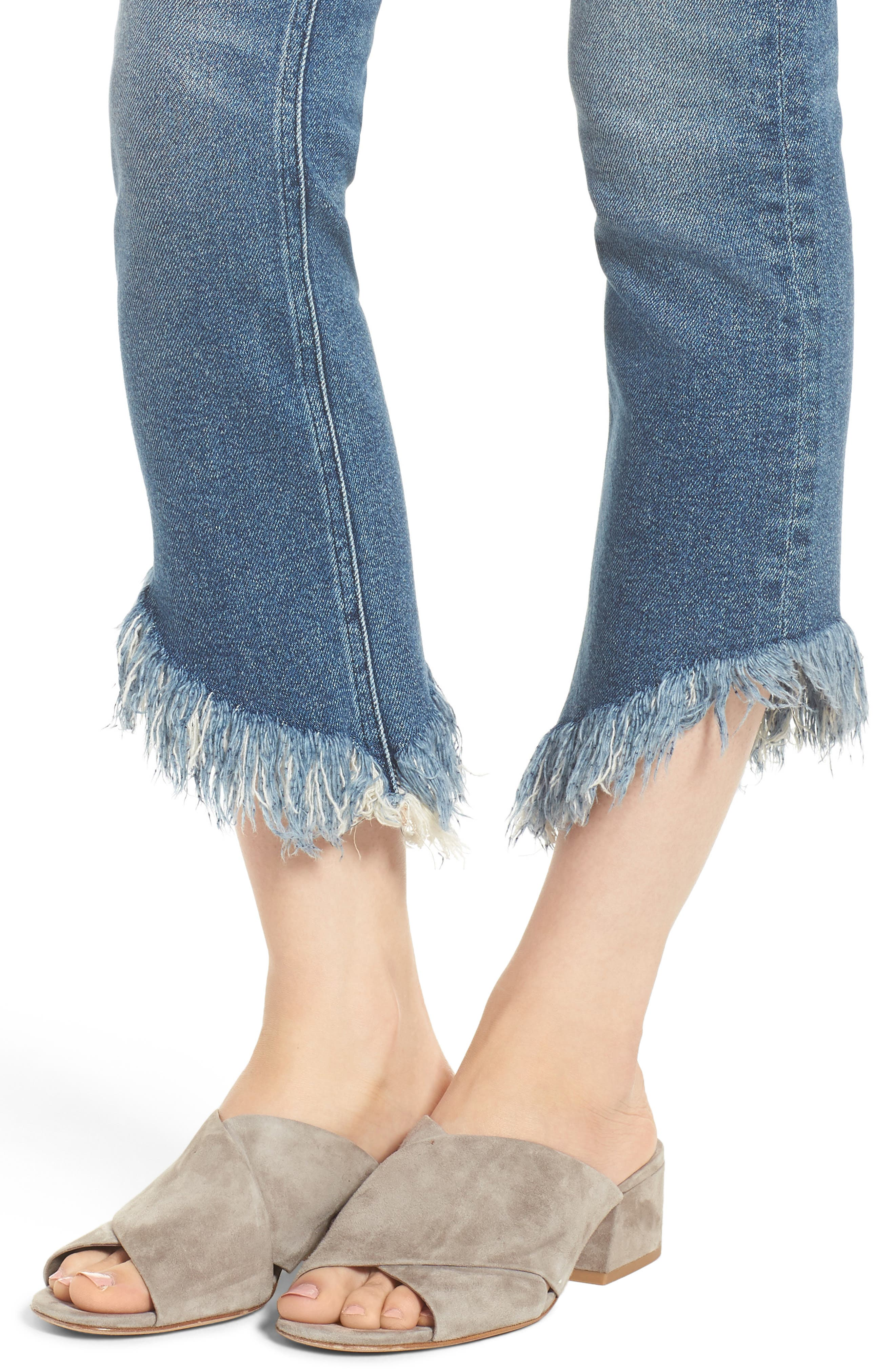 Valletta High Waist Crop Straight Leg Jeans,                             Alternate thumbnail 4, color,                             450