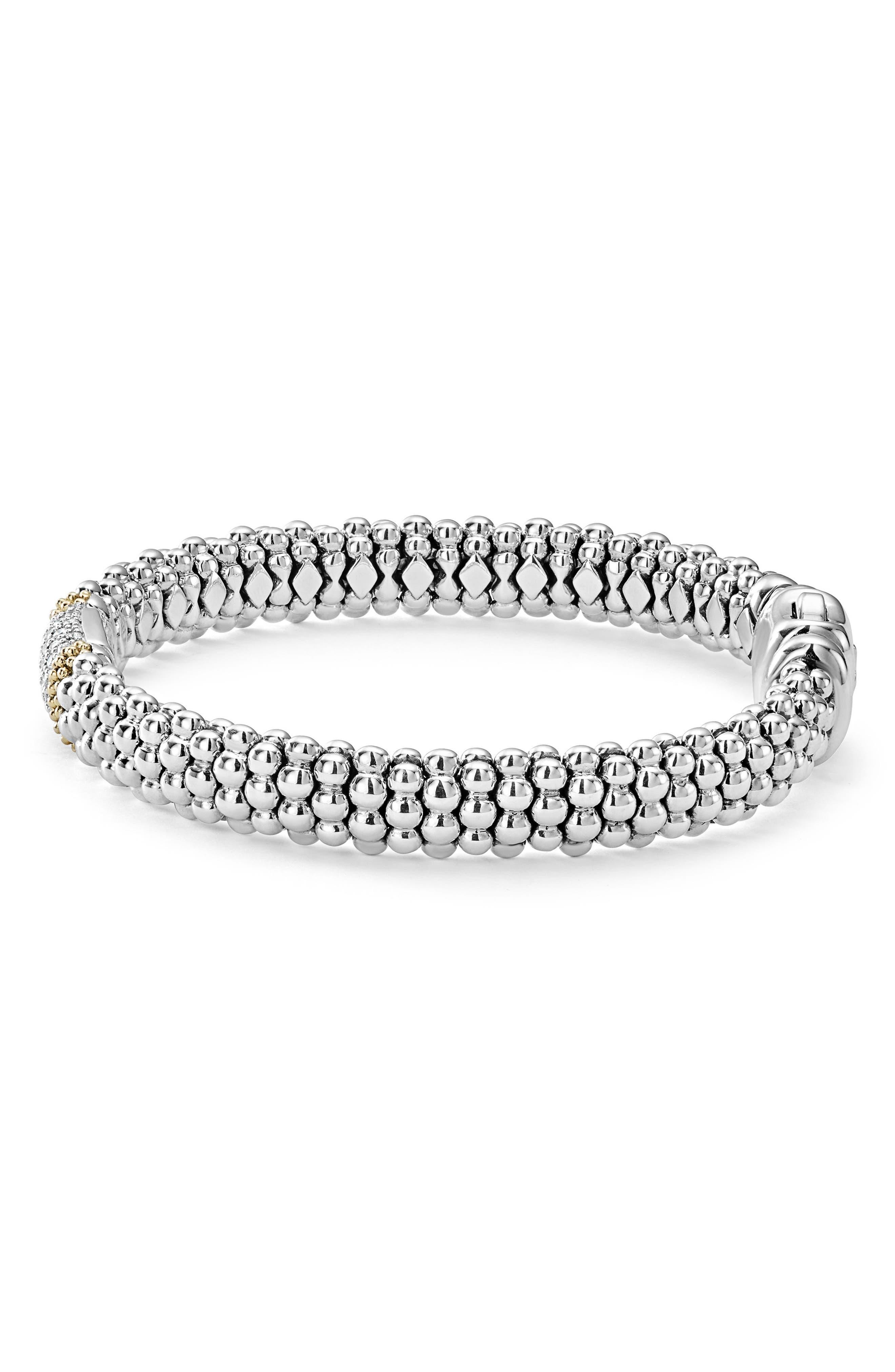 Diamond Lux Pavé Station Rope Bracelet,                             Alternate thumbnail 4, color,                             DIAMOND