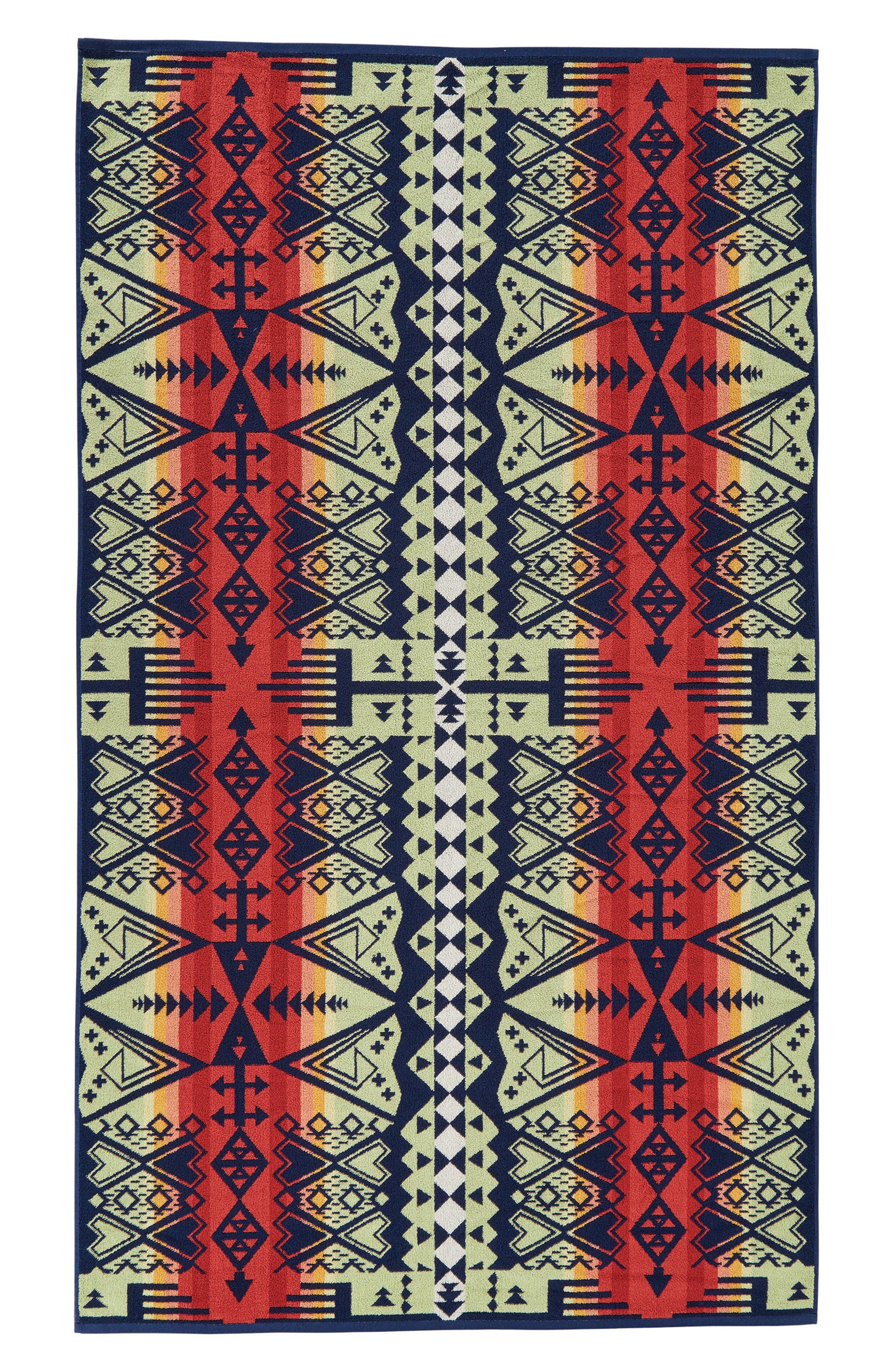 Arrow Revival Jacquard Towel,                             Alternate thumbnail 3, color,                             NAVY