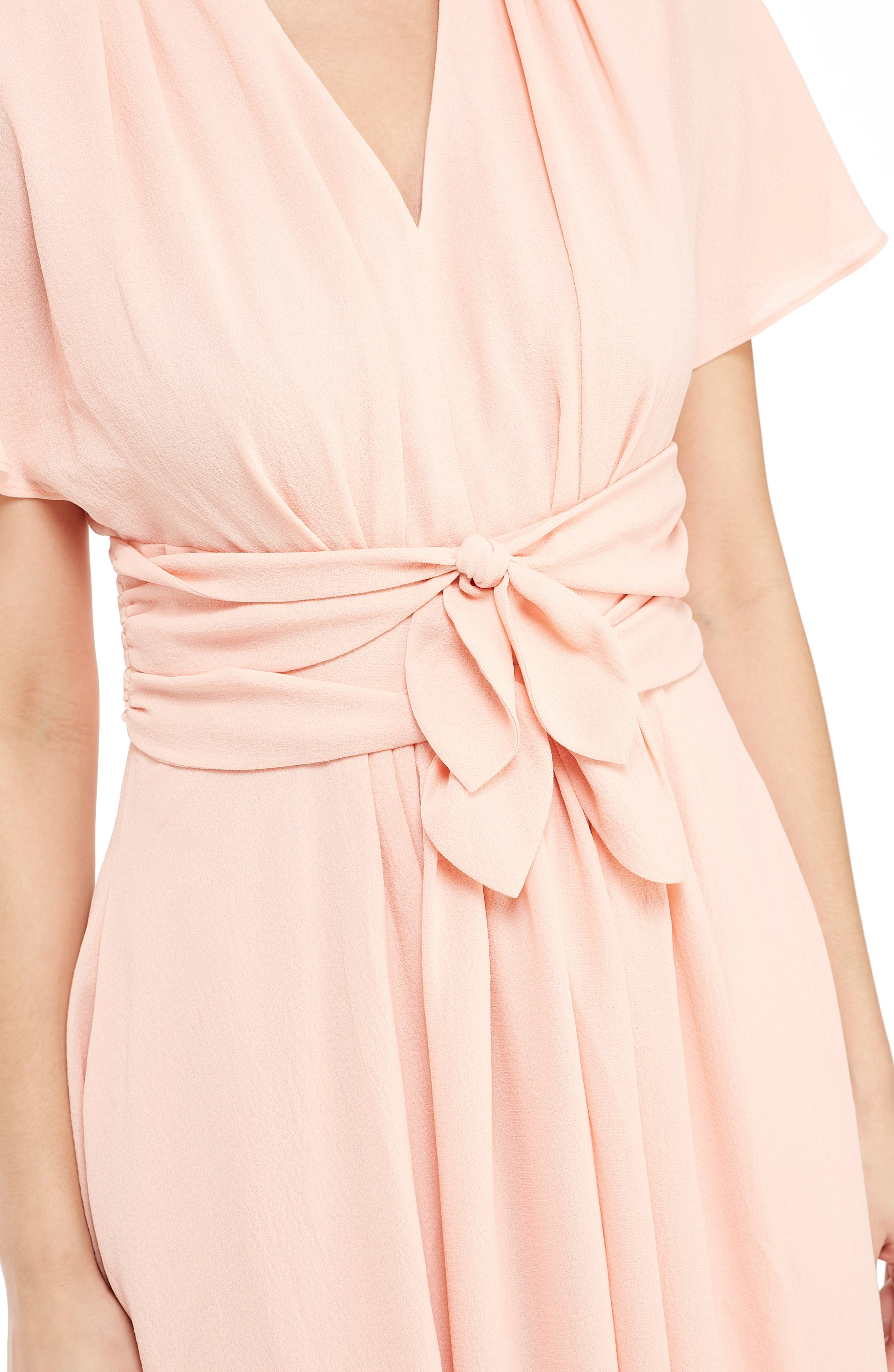 GAL MEETS GLAM COLLECTION,                             Jane Tie Waist Midi Dress,                             Alternate thumbnail 3, color,                             CORAL