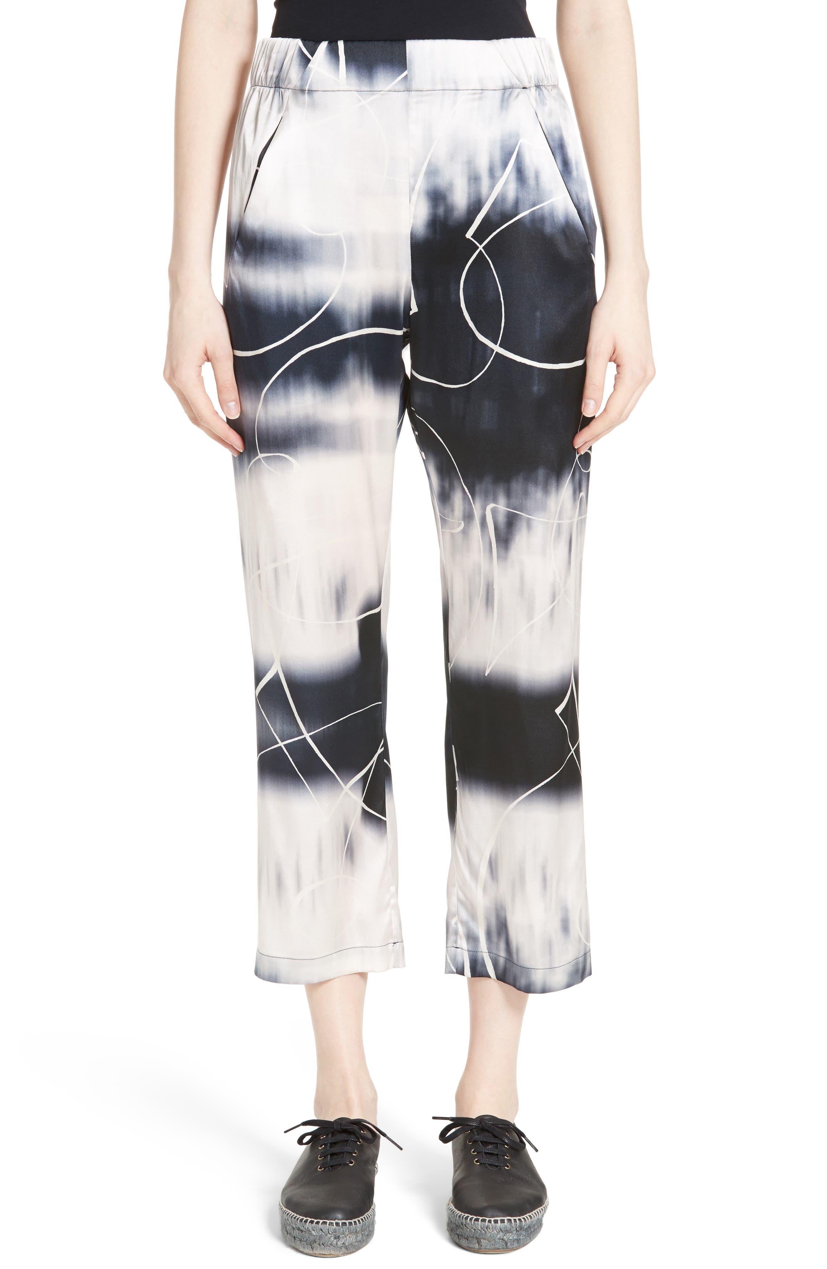 Eko Elliott X-Ray Stretch Silk Pants,                             Main thumbnail 1, color,                             100
