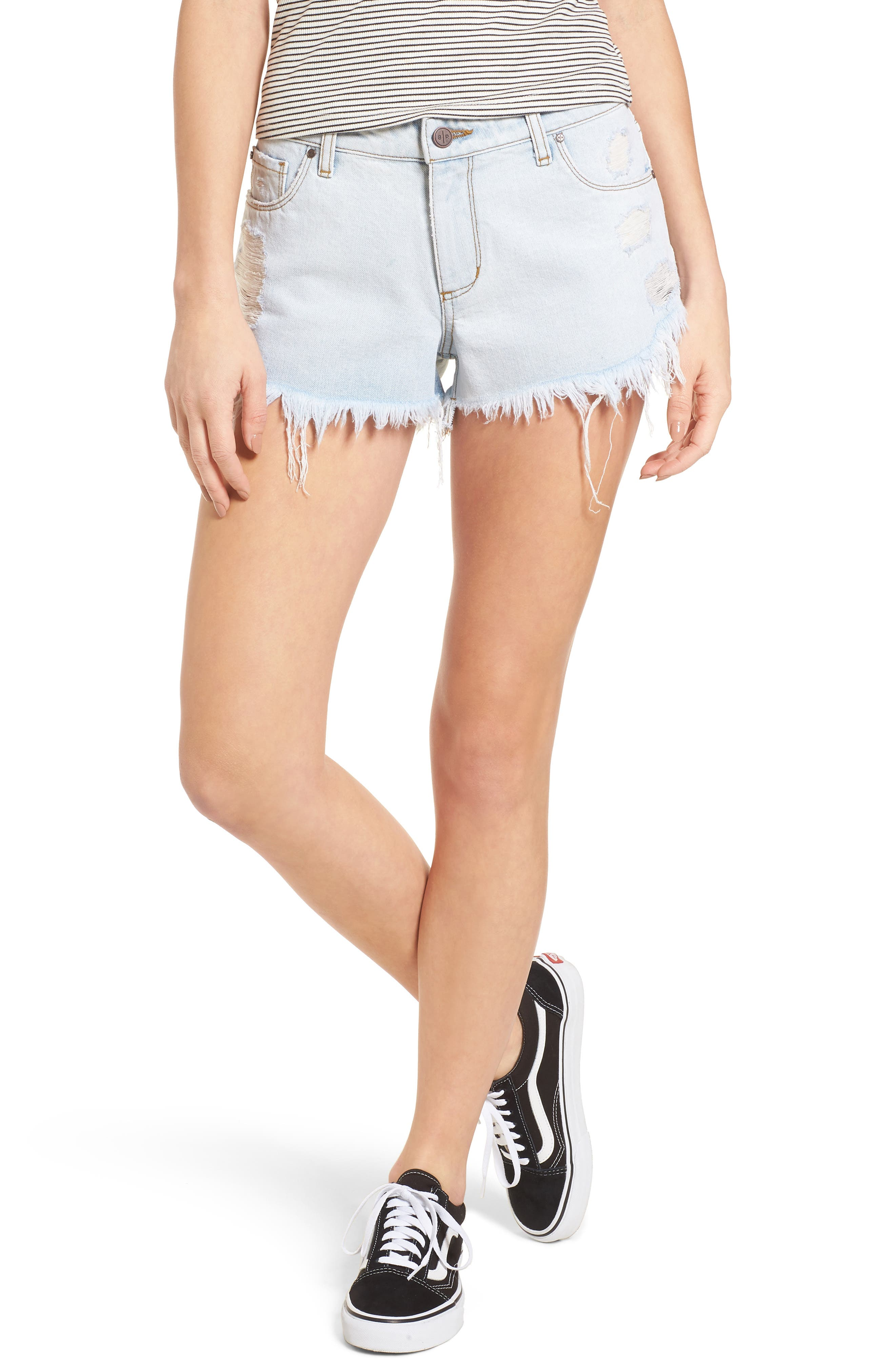 Fray Hem Denim Shorts,                         Main,                         color, 450