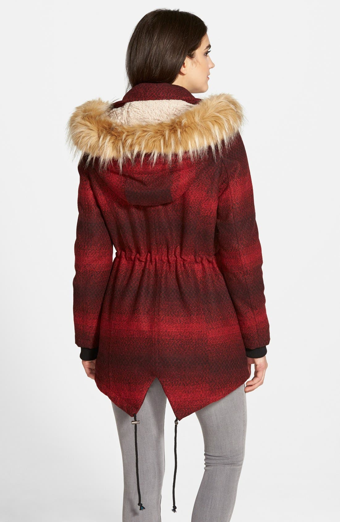 'Red Stripe' Hooded Duffle Coat with Faux Fur Trim,                             Alternate thumbnail 4, color,                             600