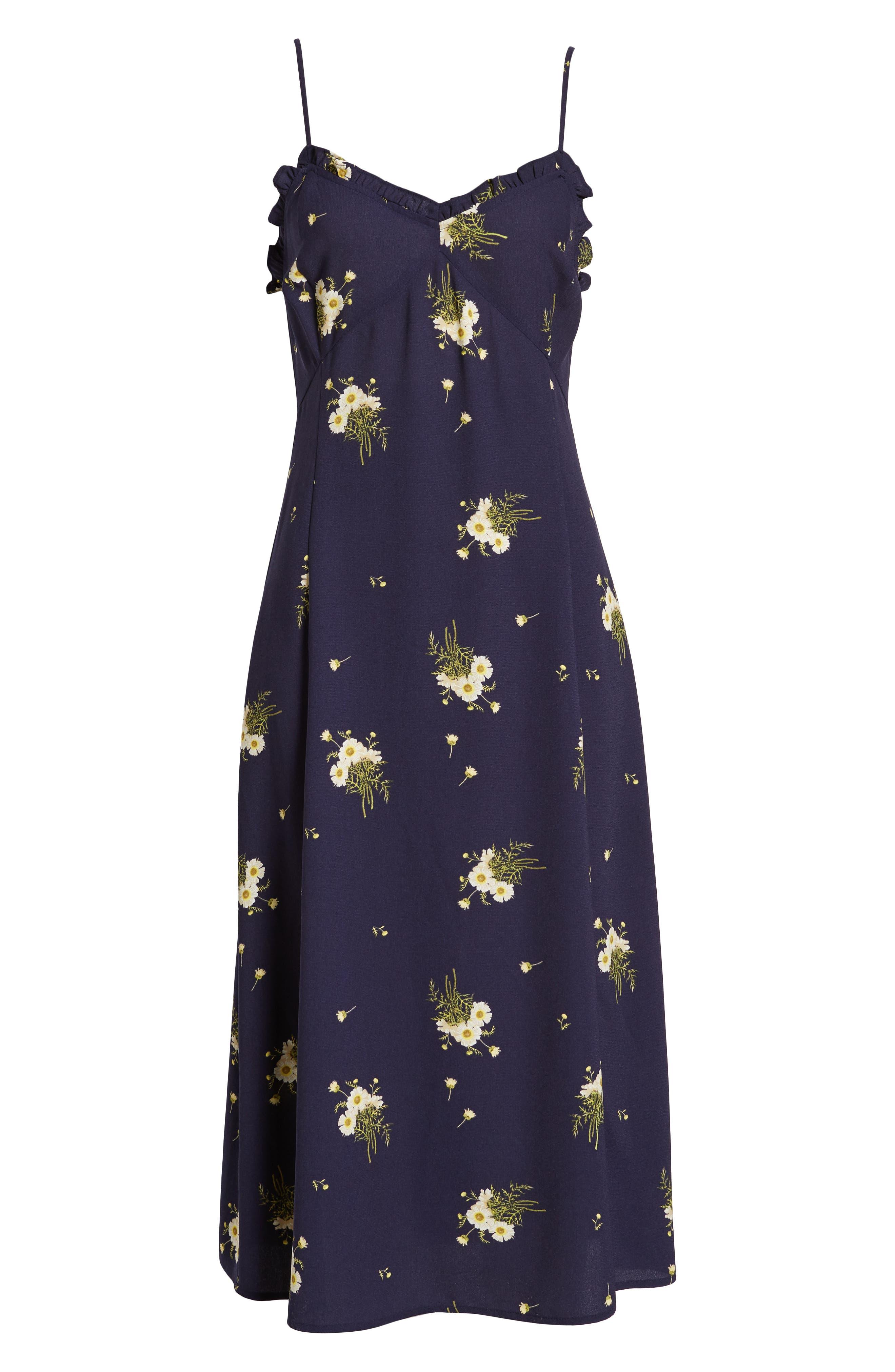 BP.,                             Ruffle Trim Floral Print Midi Dress,                             Alternate thumbnail 8, color,                             NAVY EVENING DAISY