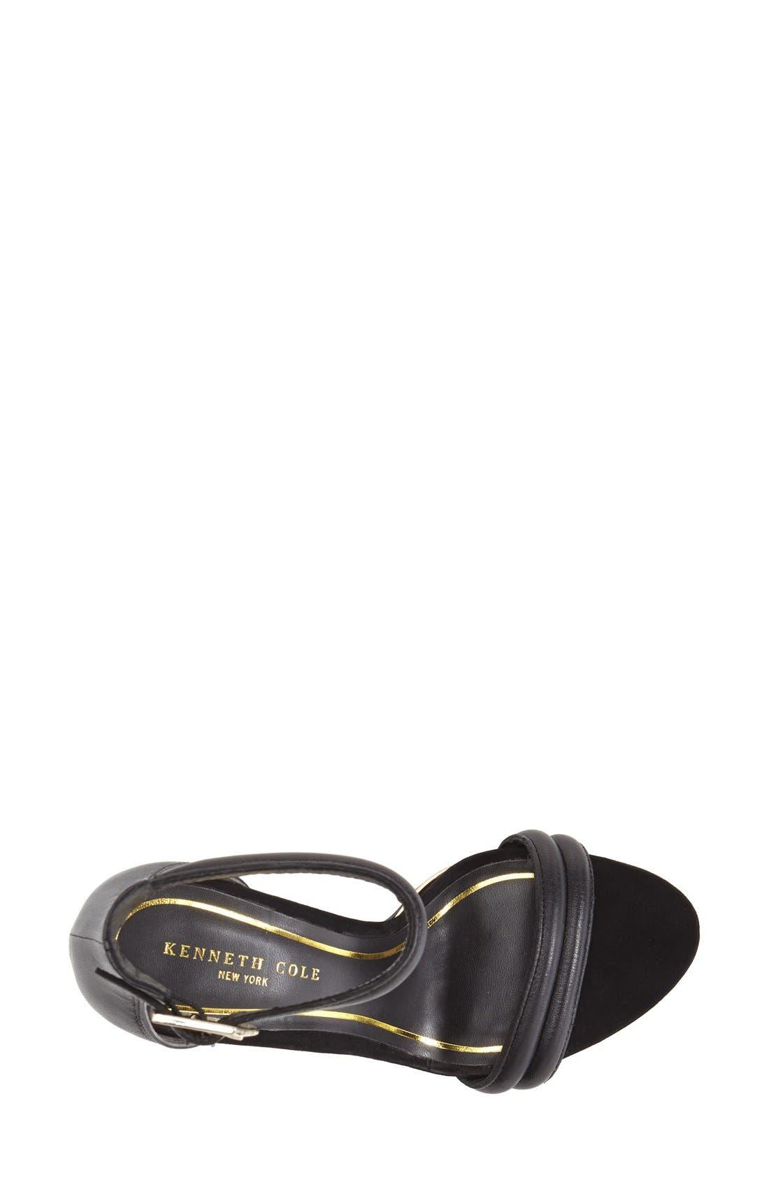 KENNETH COLE NEW YORK,                             'Brooke' Ankle Strap Sandal,                             Alternate thumbnail 2, color,                             BLACK LEATHER