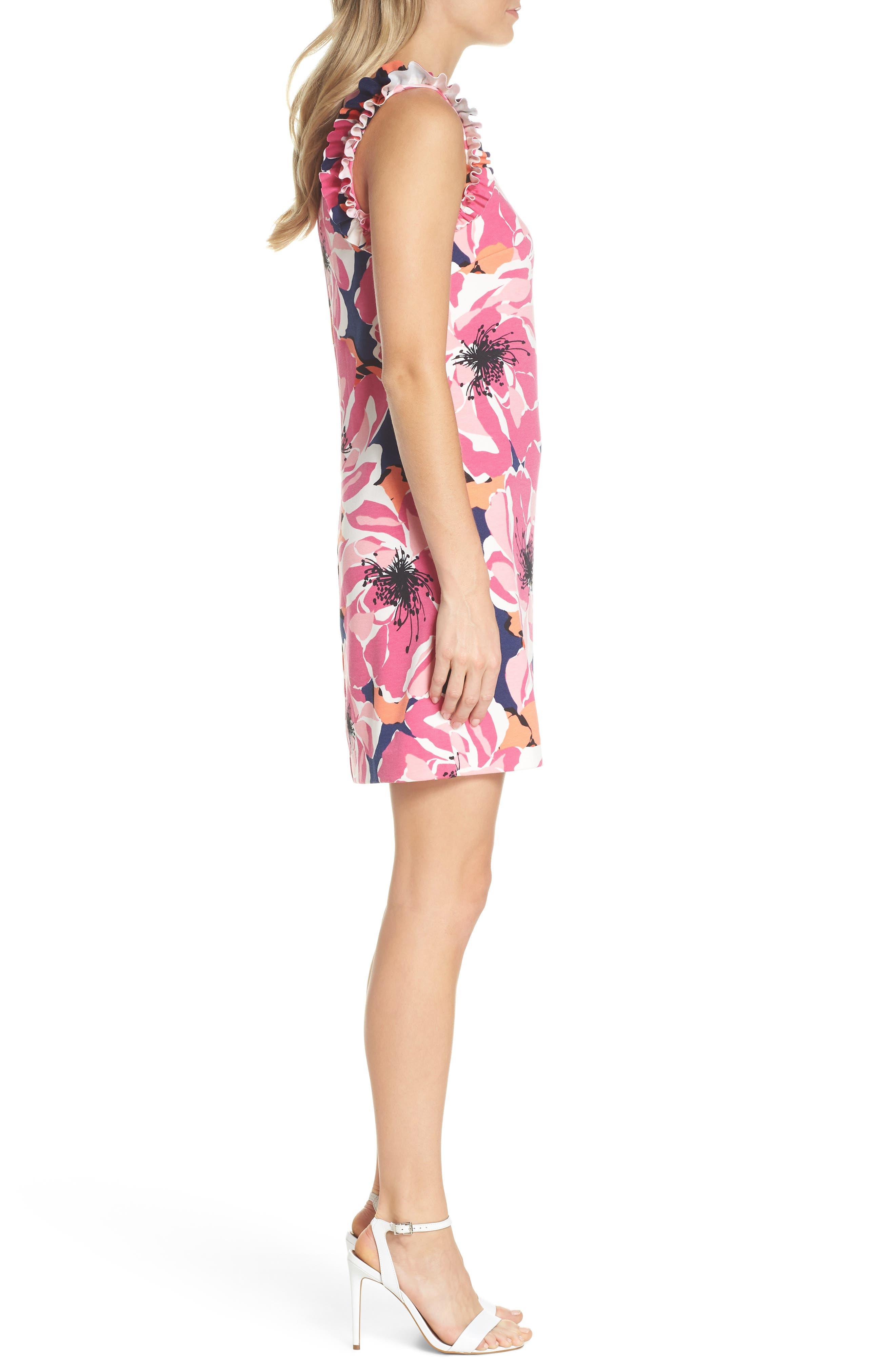 TRINA TRINA TURK,                             Sirena Ruffle Sheath Dress,                             Alternate thumbnail 3, color,                             650