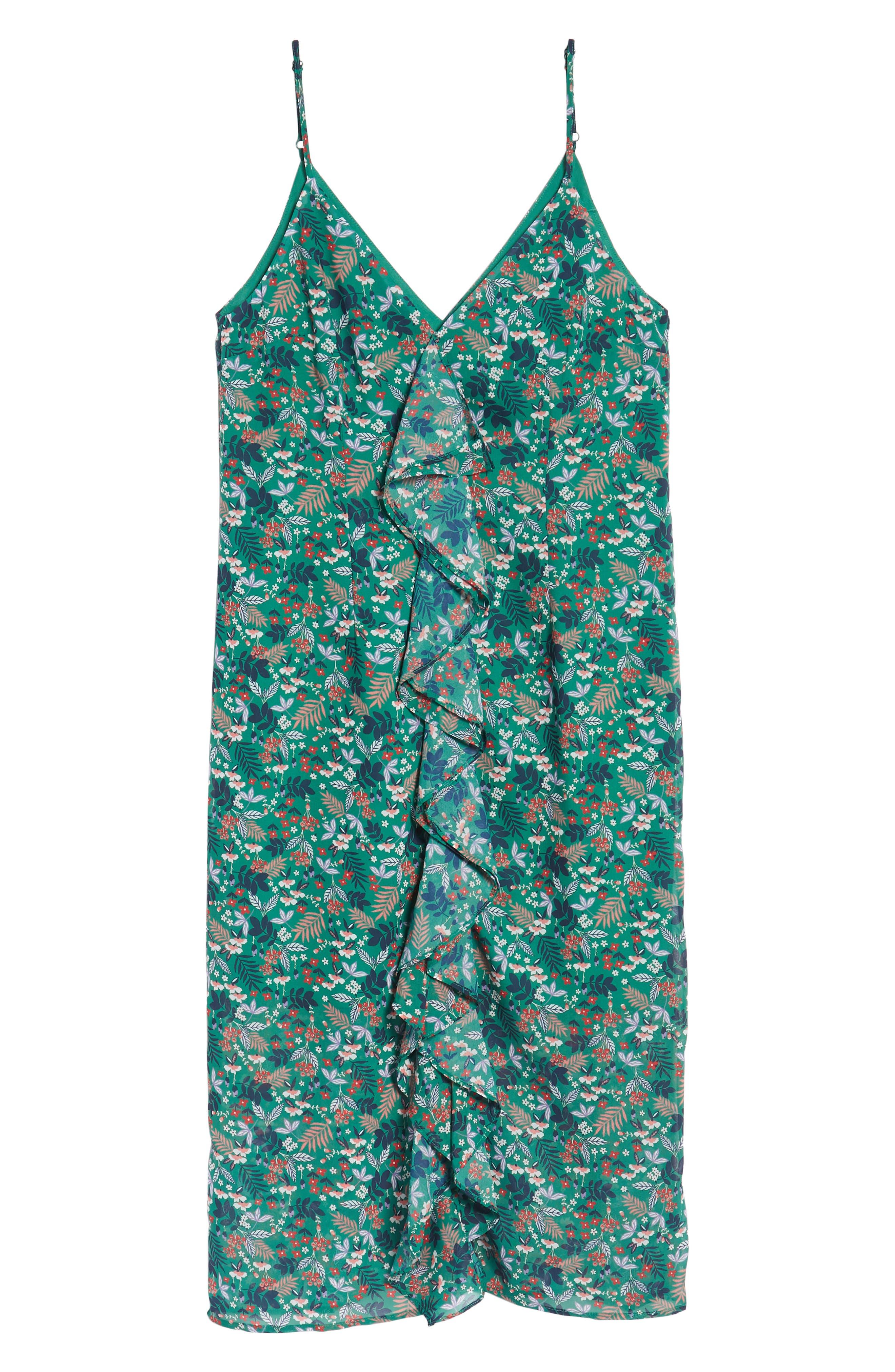 Viridian Ruffle Floral Print Dress,                             Alternate thumbnail 7, color,                             305